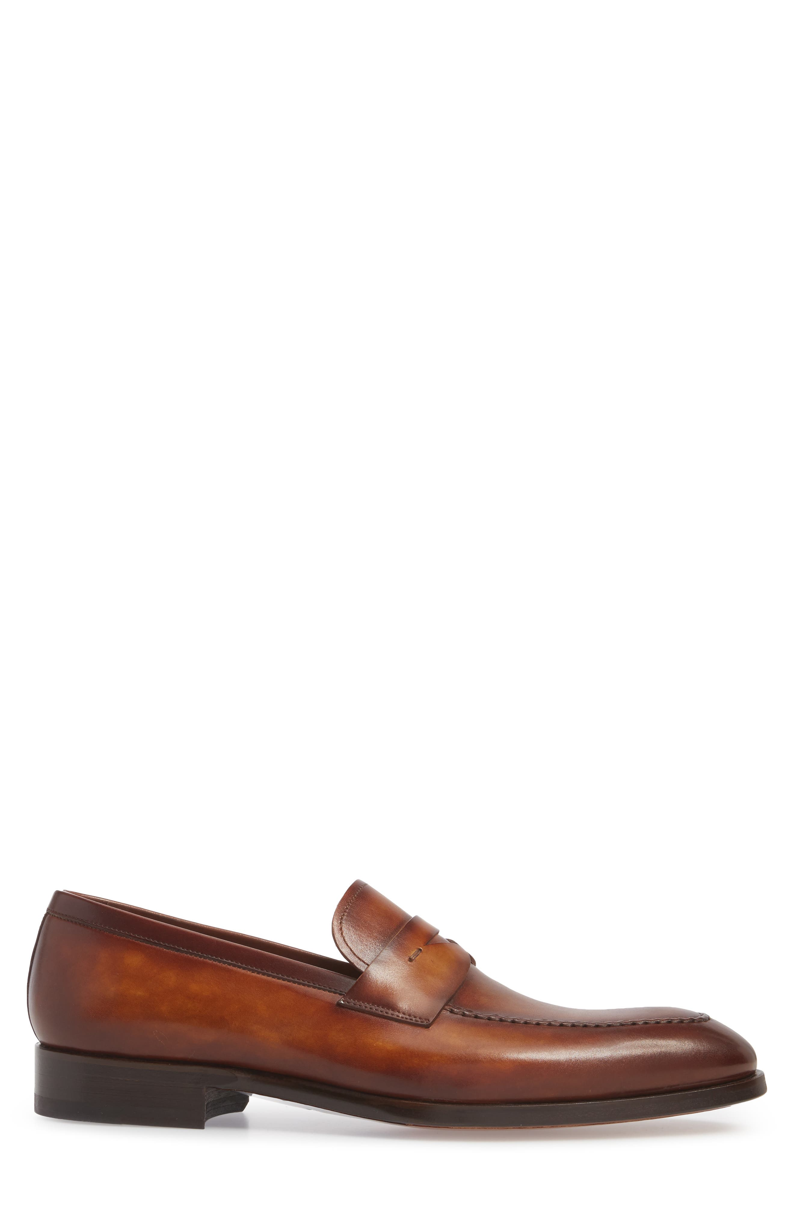 Rolly Apron Toe Penny Loafer,                             Alternate thumbnail 3, color,                             Brown Leather