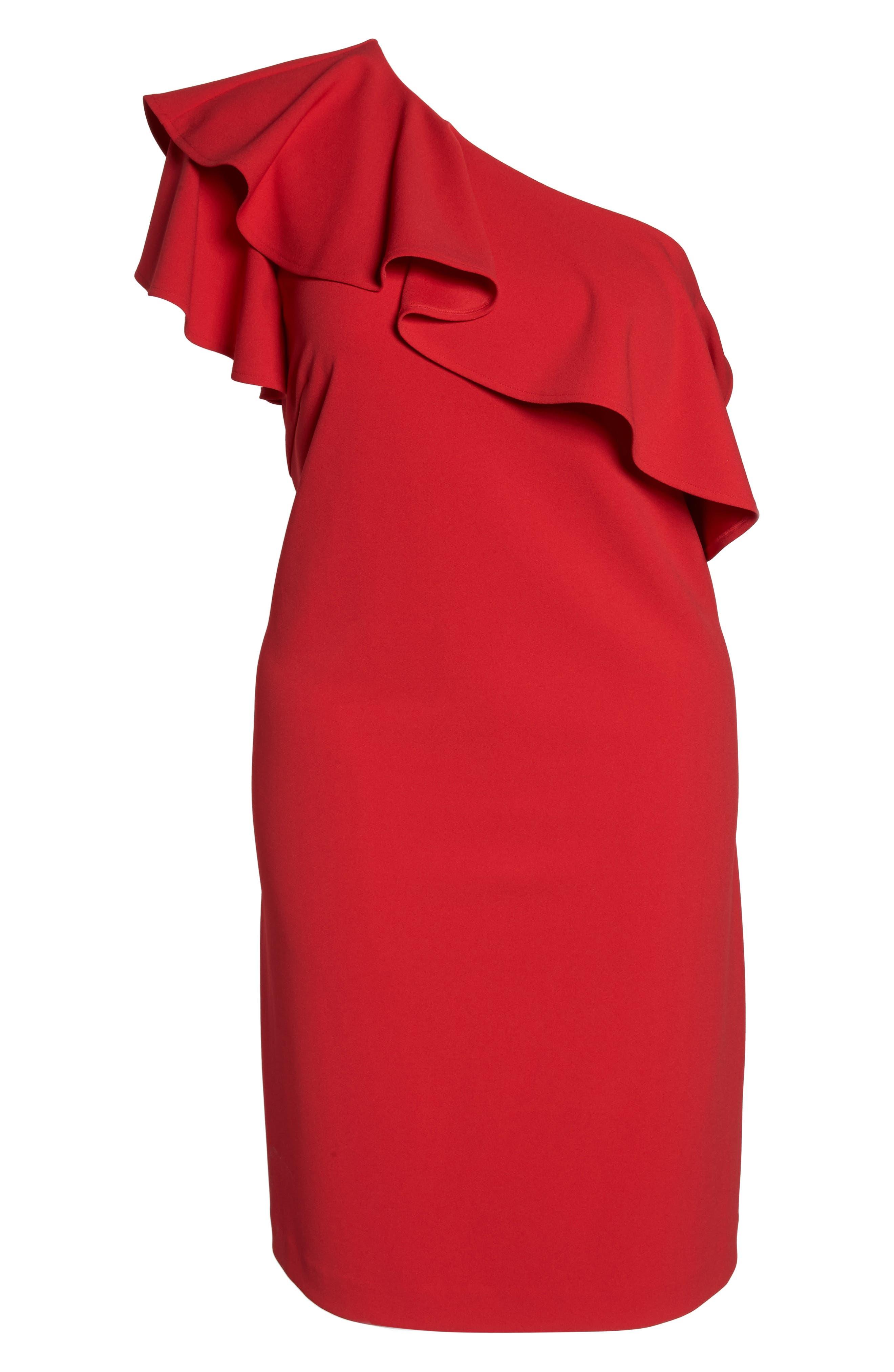Ruffle One-Shoulder Scuba Body-Con Dress,                             Alternate thumbnail 6, color,                             Red