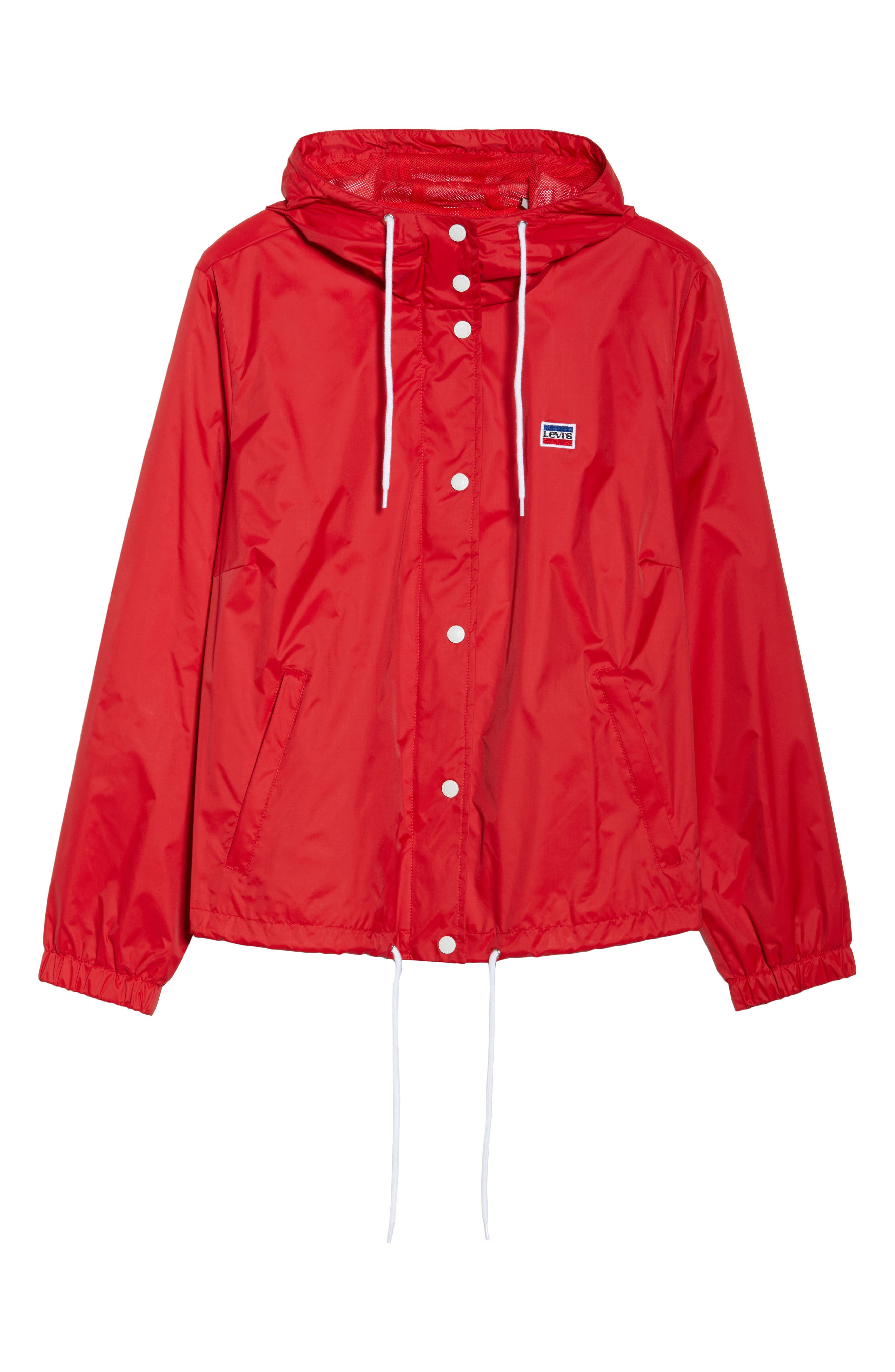 Retro Hooded Coach's Jacket,                             Alternate thumbnail 6, color,                             Red