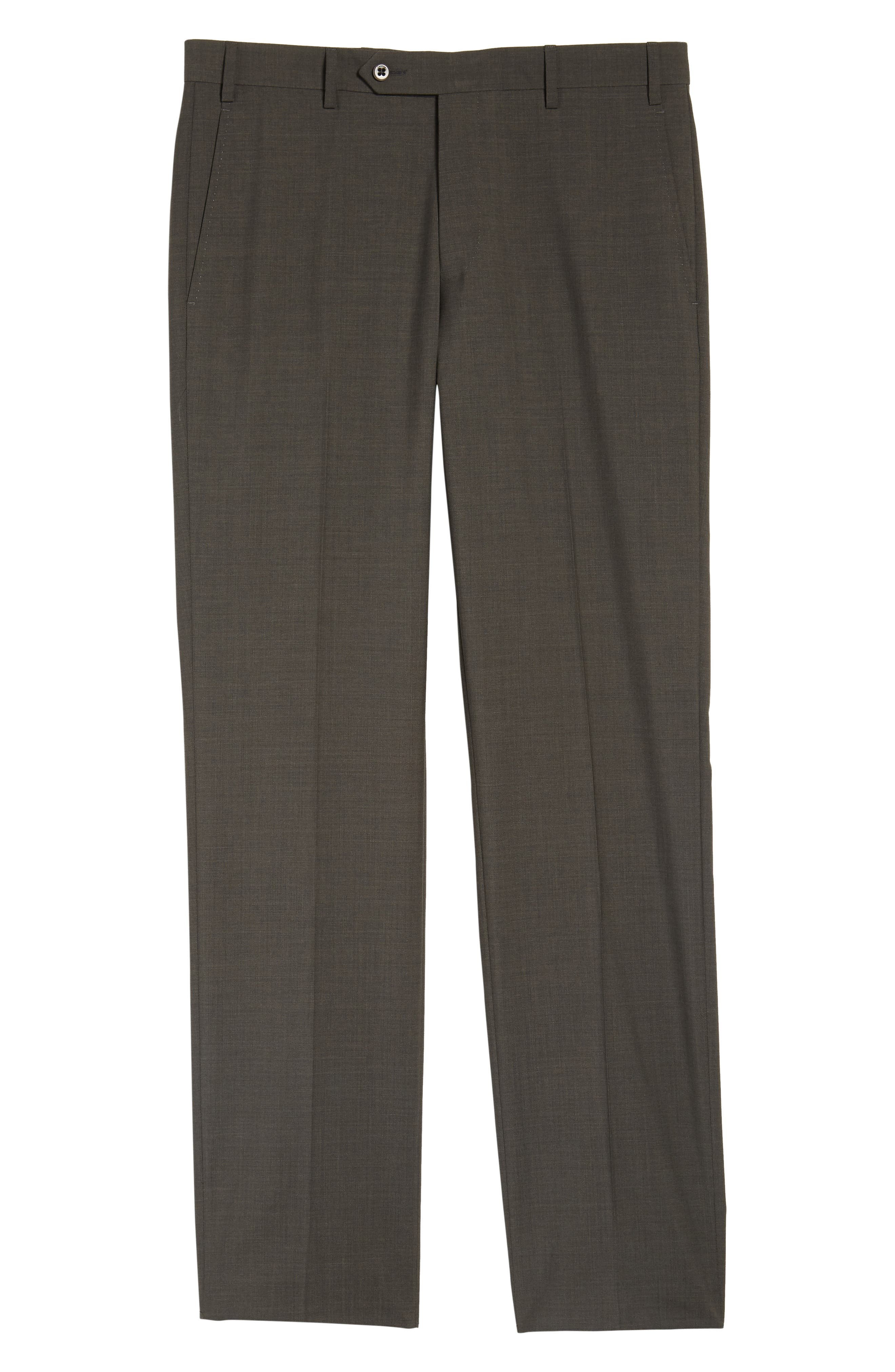 Devon Flat Front Solid Wool Trousers,                             Alternate thumbnail 6, color,                             Olive