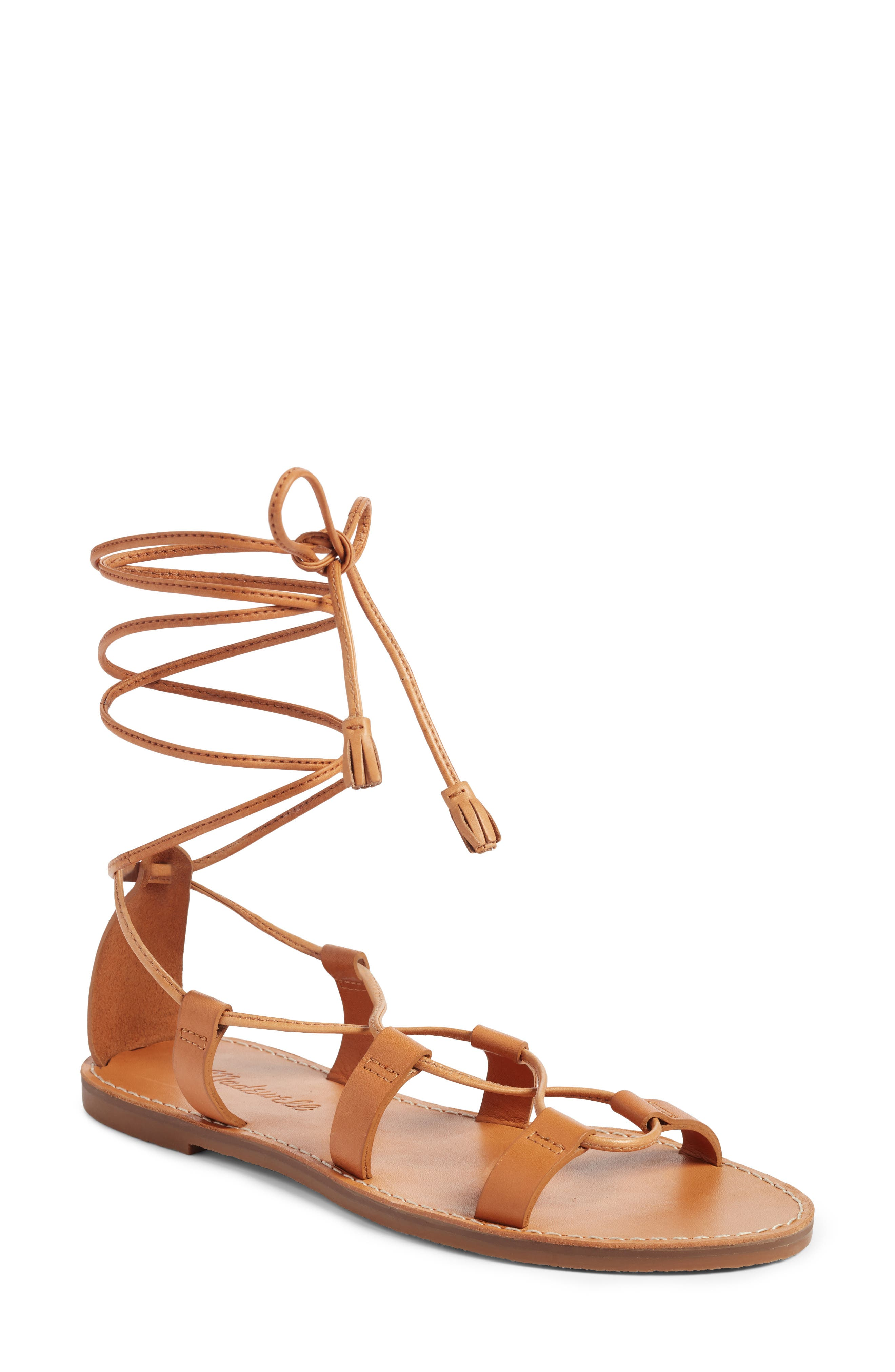 The Boardwalk Lace-Up Sandal,                             Main thumbnail 1, color,                             Desert Camel Leather