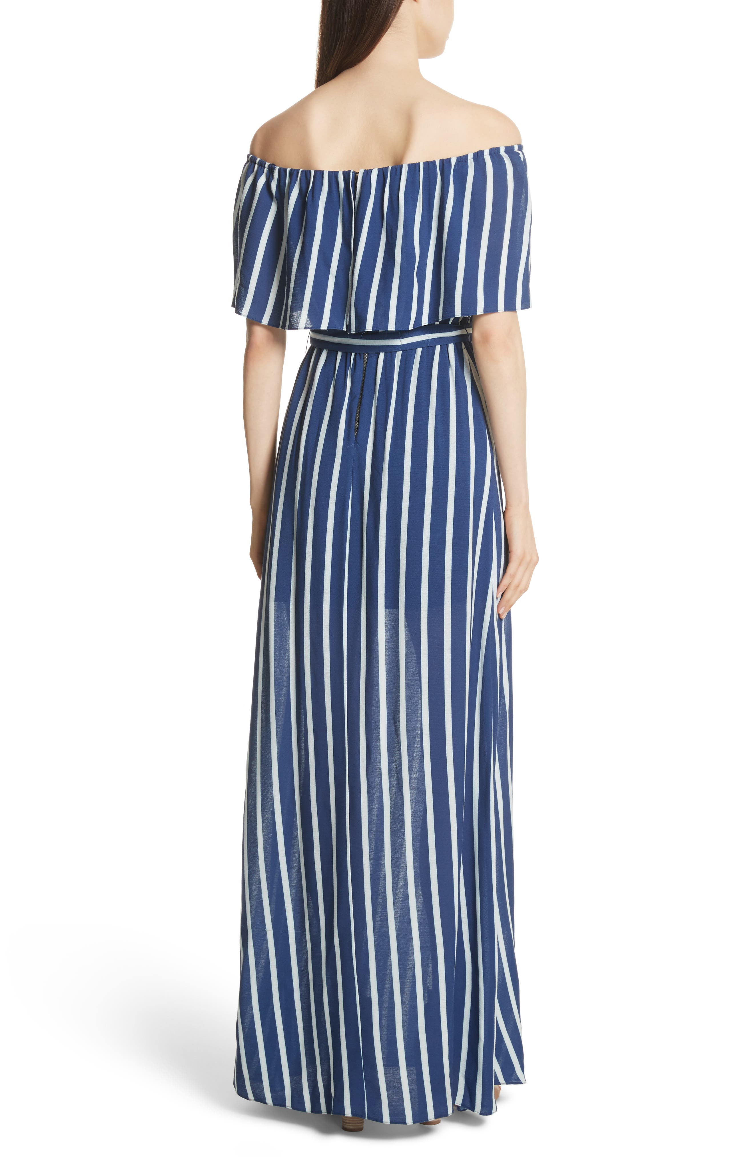 Grazi Off the Shoulder Maxi Dress,                             Alternate thumbnail 2, color,                             Oasis Stripe