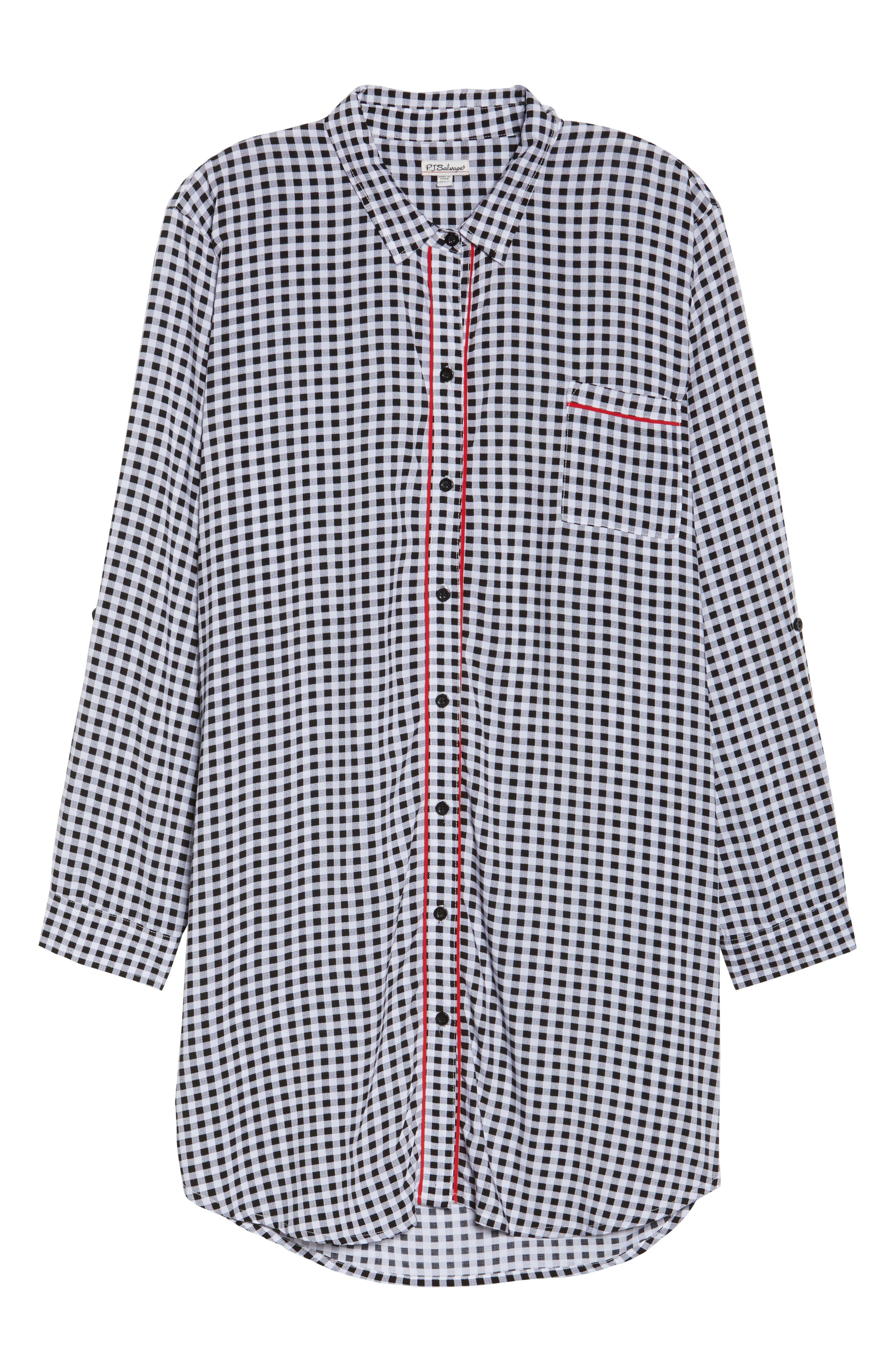 Gingham Sleep Shirt,                             Alternate thumbnail 4, color,                             Black