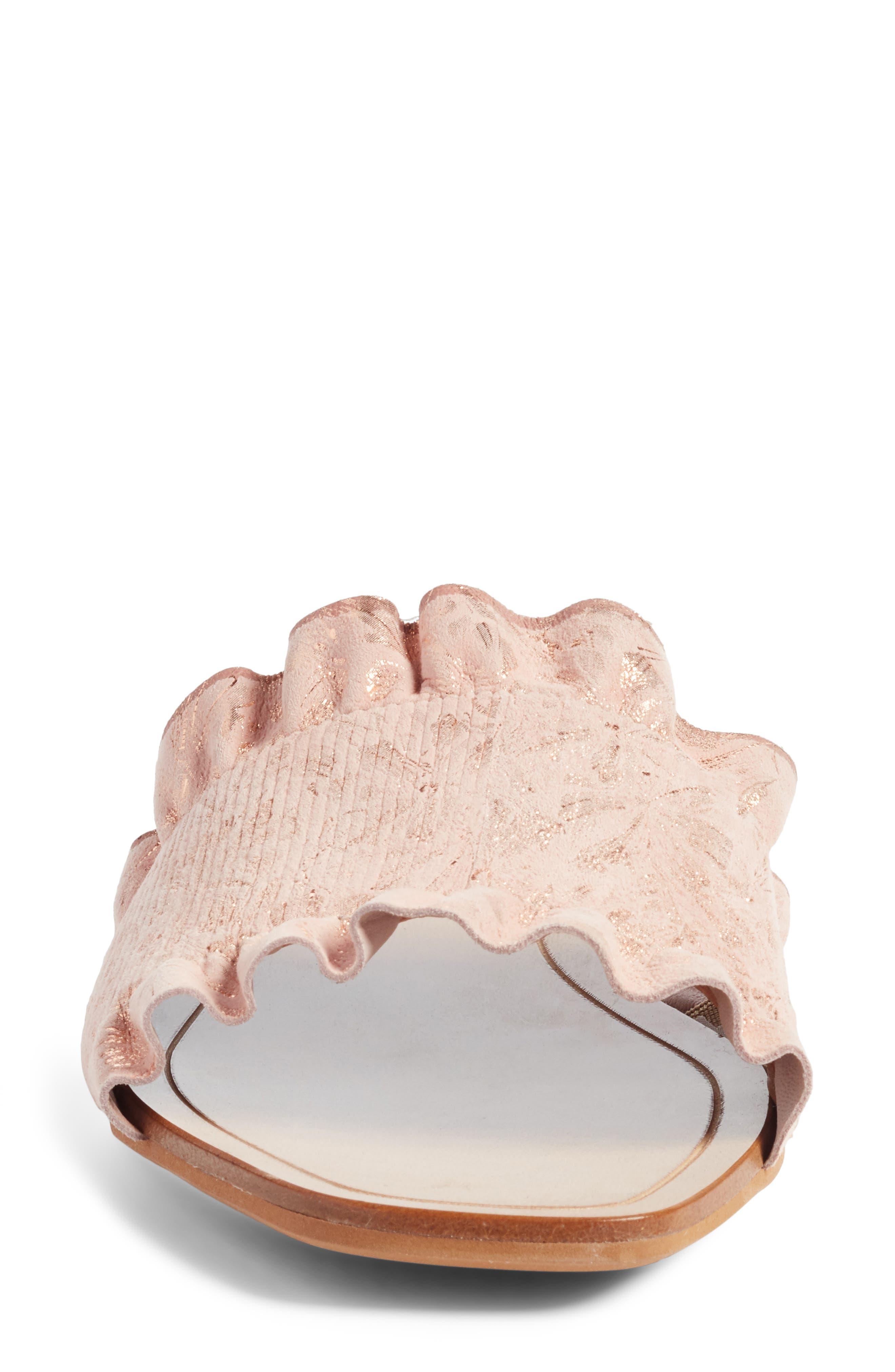 Cassandra Ruffle Slide Sandal,                             Alternate thumbnail 4, color,                             Rose Gold Leather