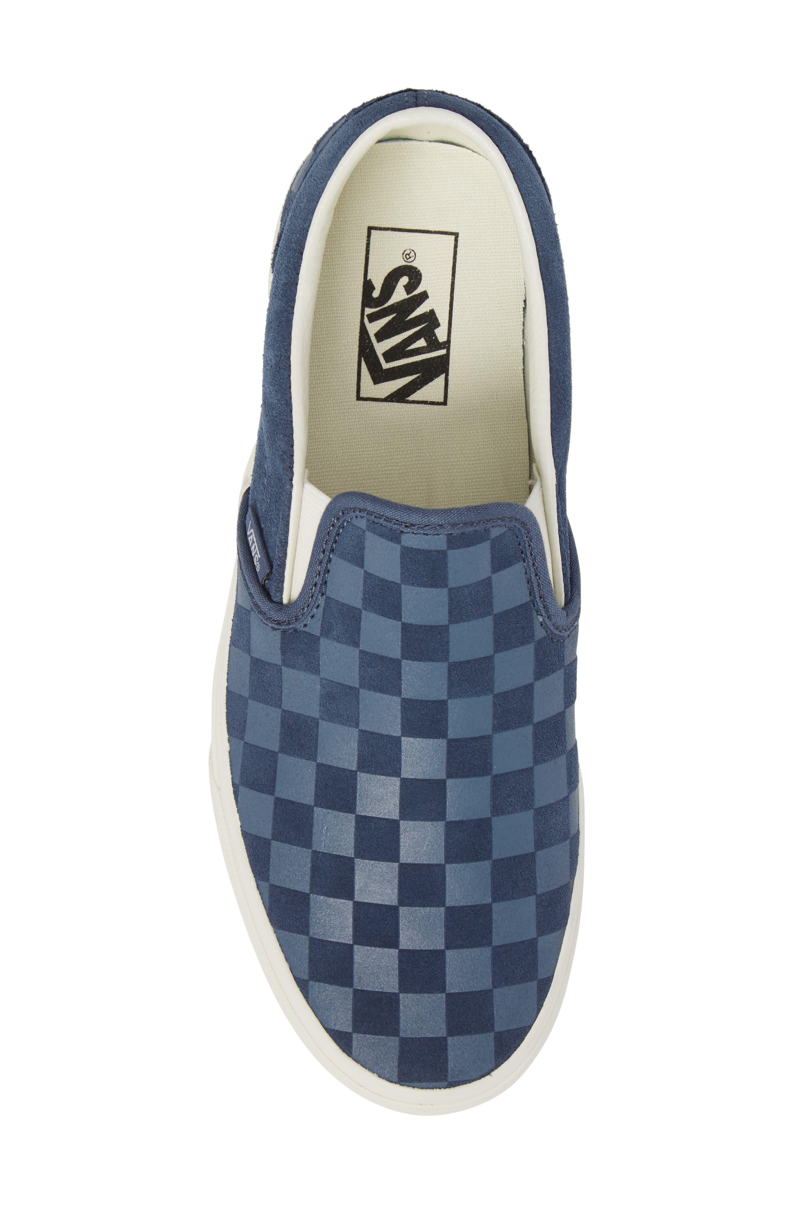 Classic Slip-On Sneaker,                             Alternate thumbnail 5, color,                             Indigo/ Marshmallow Leather