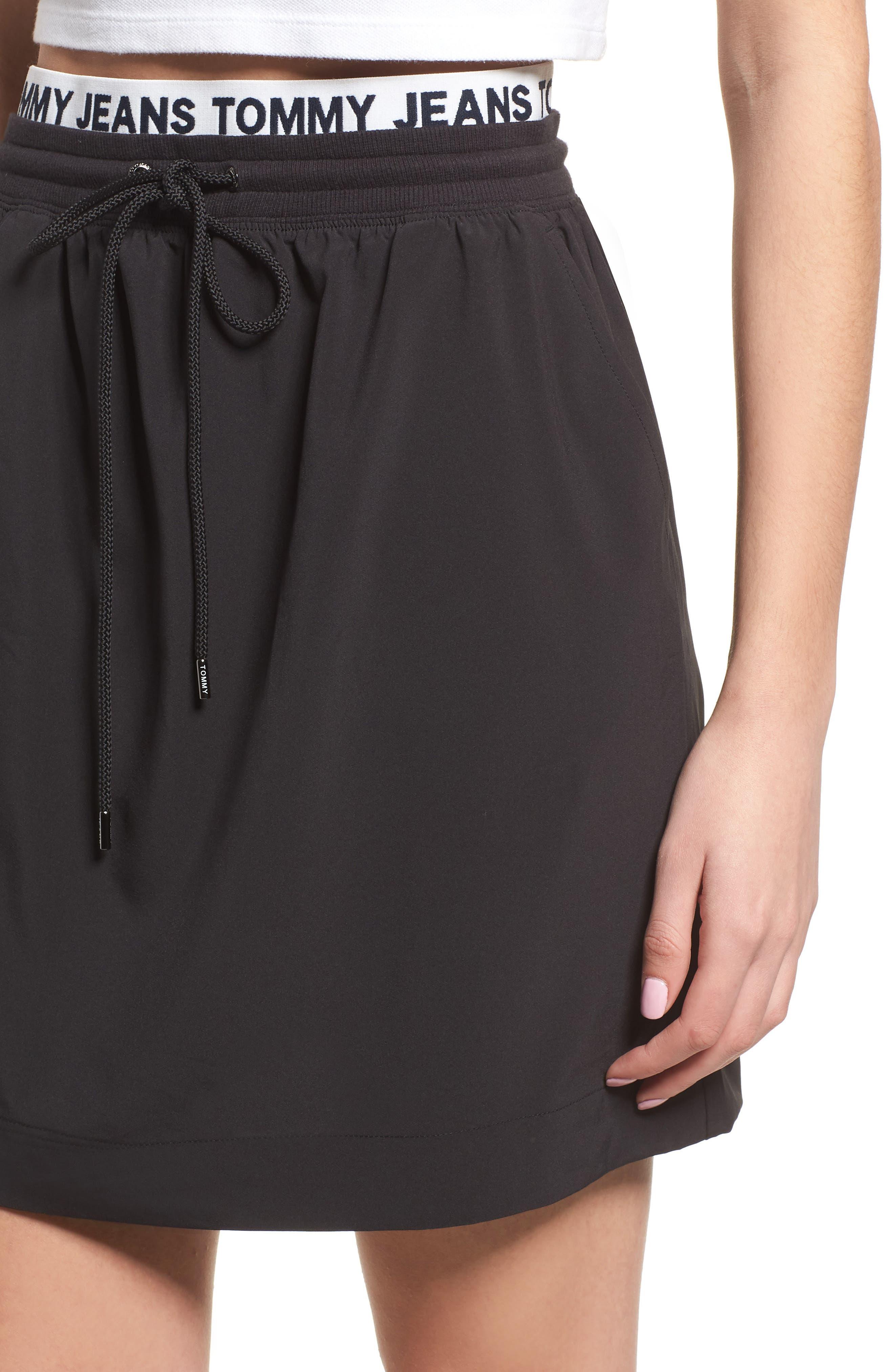 Logo Waistband Skirt,                             Alternate thumbnail 4, color,                             Tommy Black