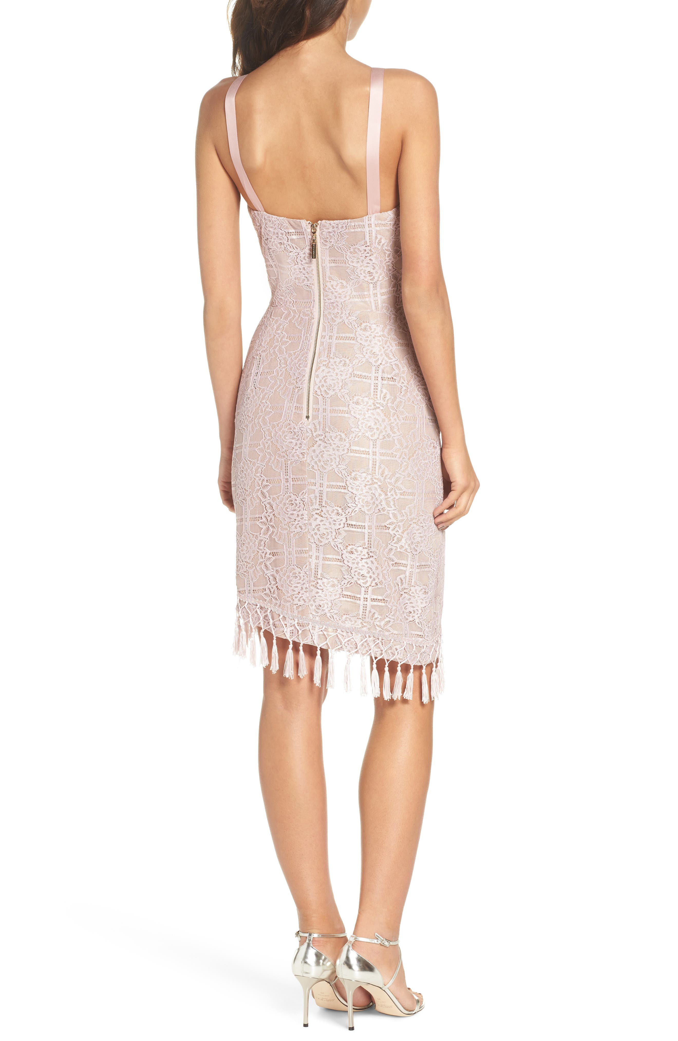 Natasha Asymmetrical Lace Dress,                             Alternate thumbnail 2, color,                             Blush