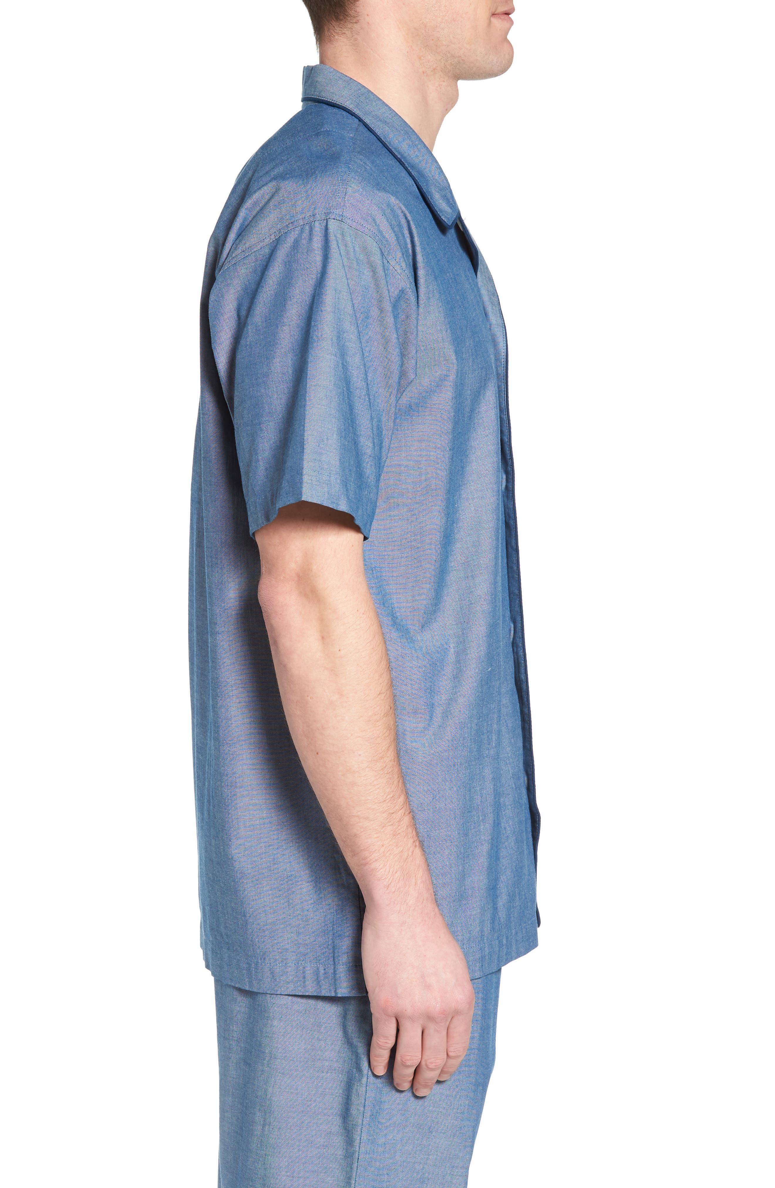 Cotton Pajama Shirt,                             Alternate thumbnail 3, color,                             Medium Indigo/ Dark Indigo