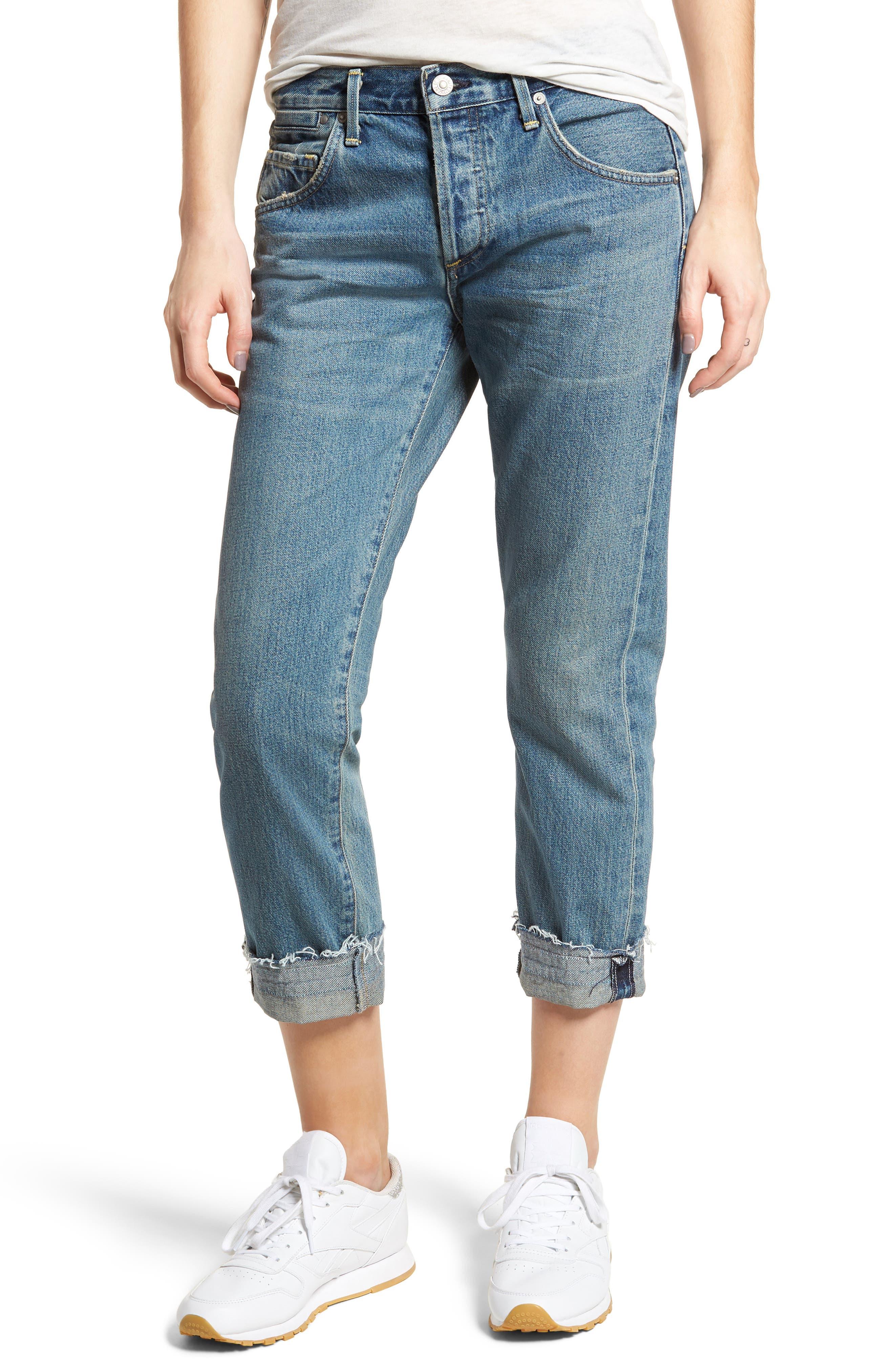 Emerson Crop Slim Boyfriend Jeans,                             Main thumbnail 1, color,                             Somerset