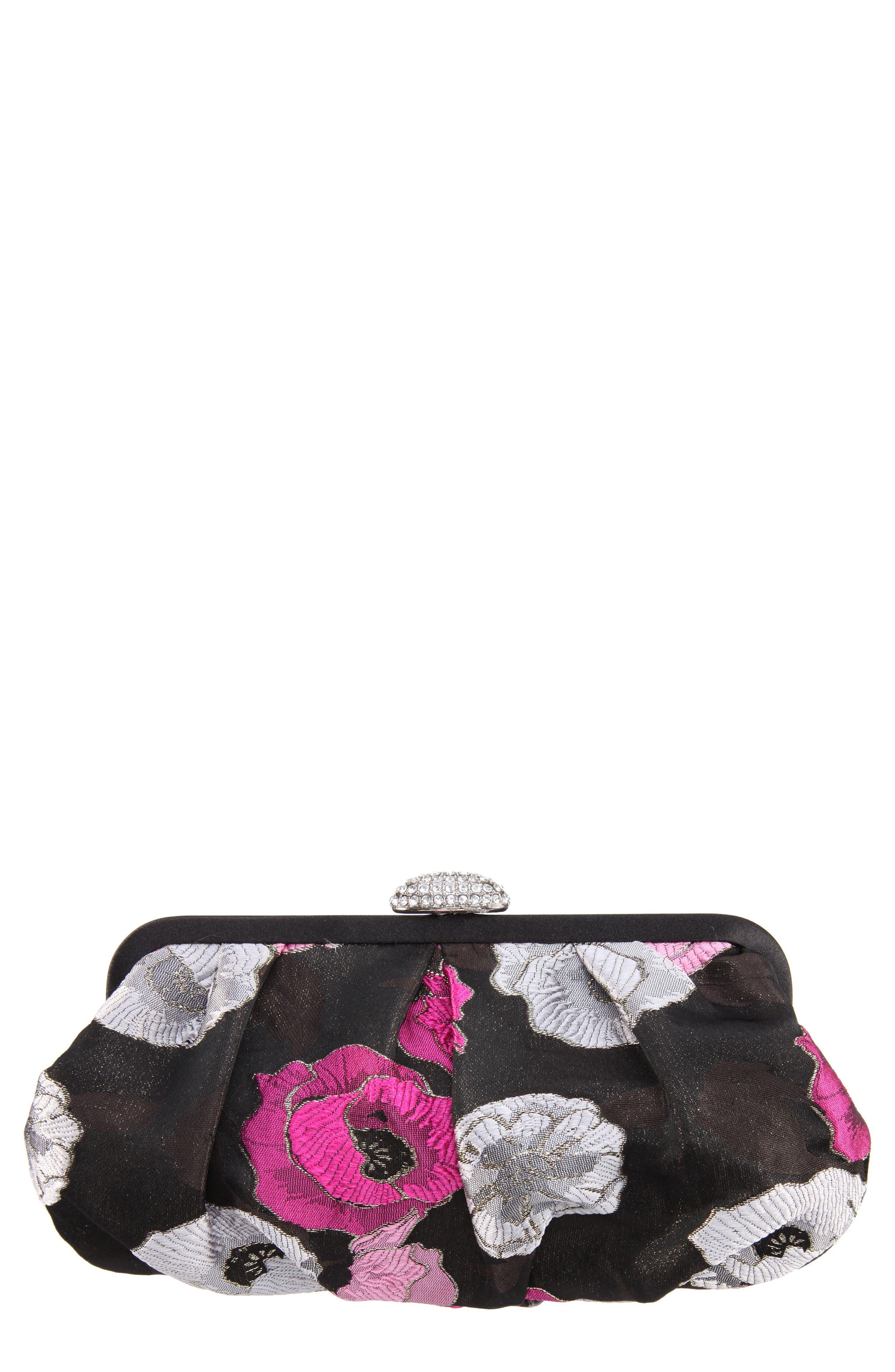 Manila Pleated Brocade Frame Clutch,                         Main,                         color, Lollipop Pink