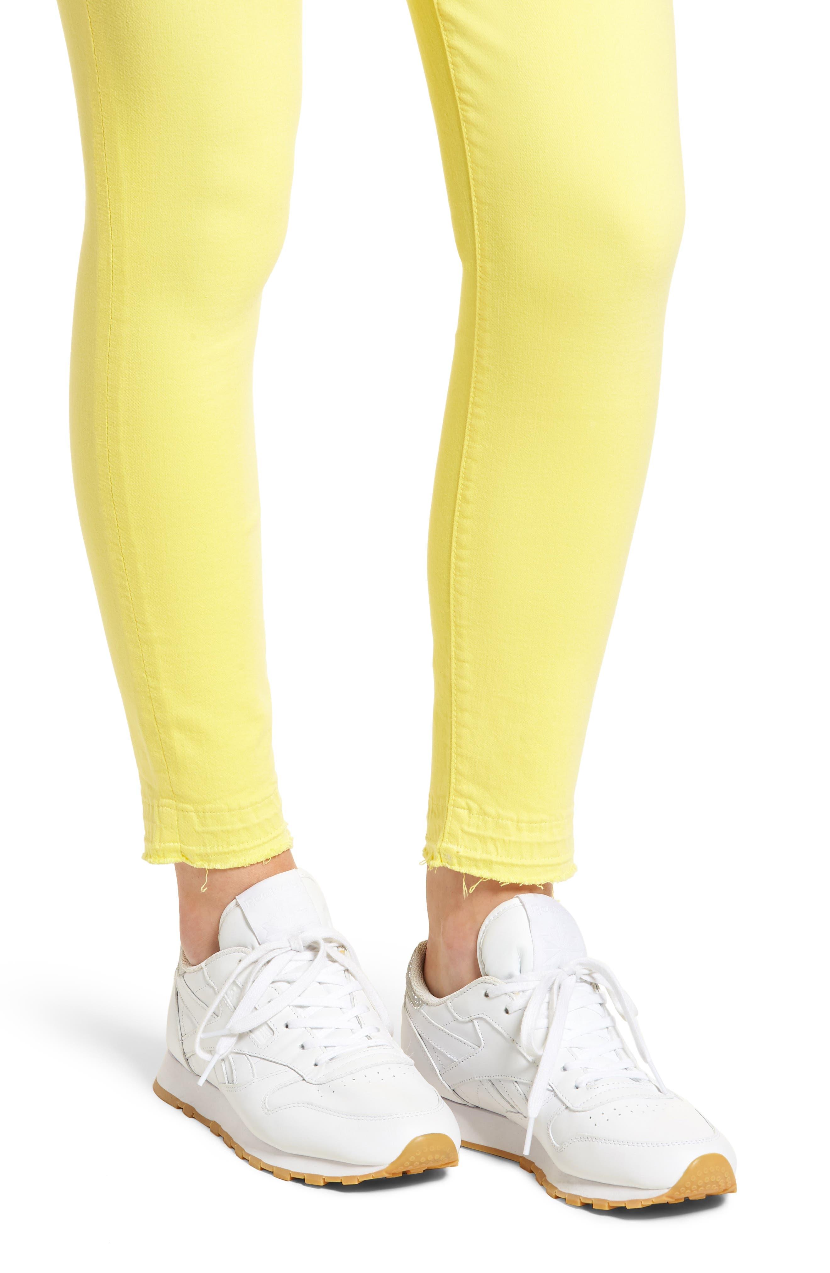 Released Hem Ankle Skinny Jeans,                             Alternate thumbnail 4, color,                             Vivid Yellow