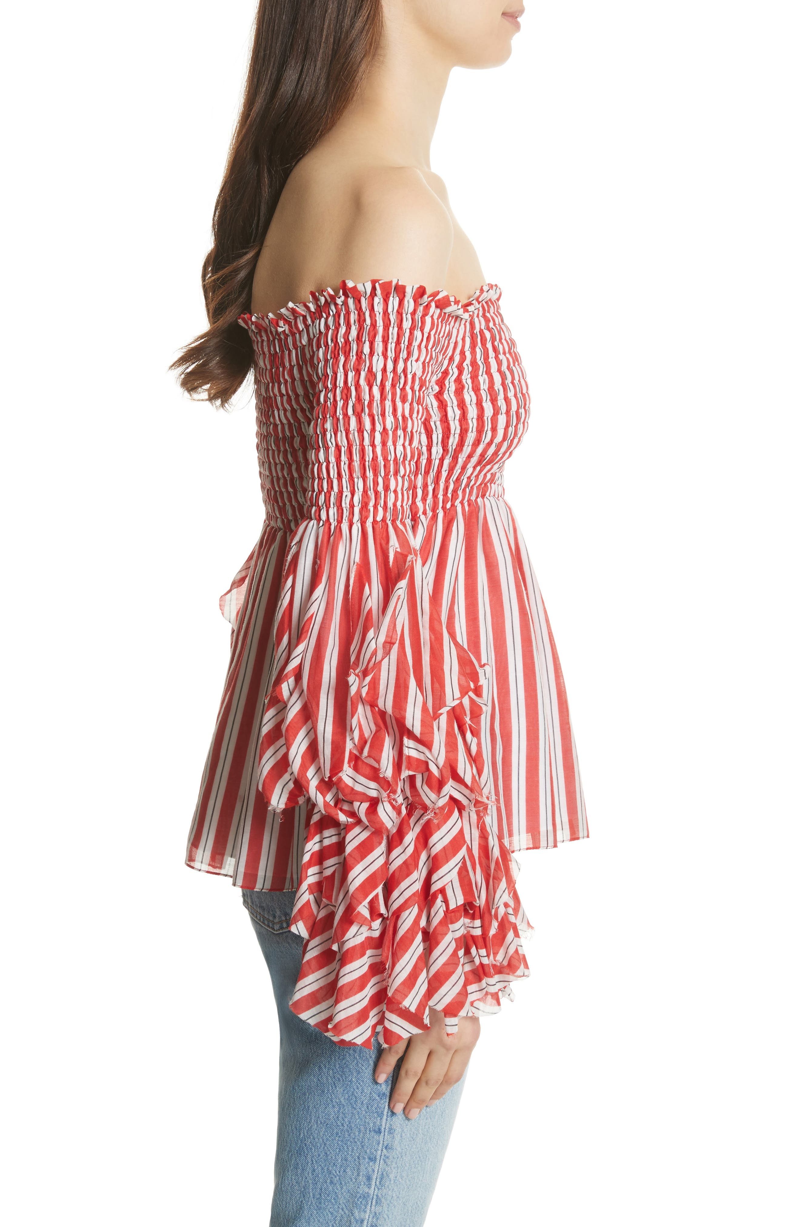Alessandra Off the Shoulder Silk Top,                             Alternate thumbnail 3, color,                             Red