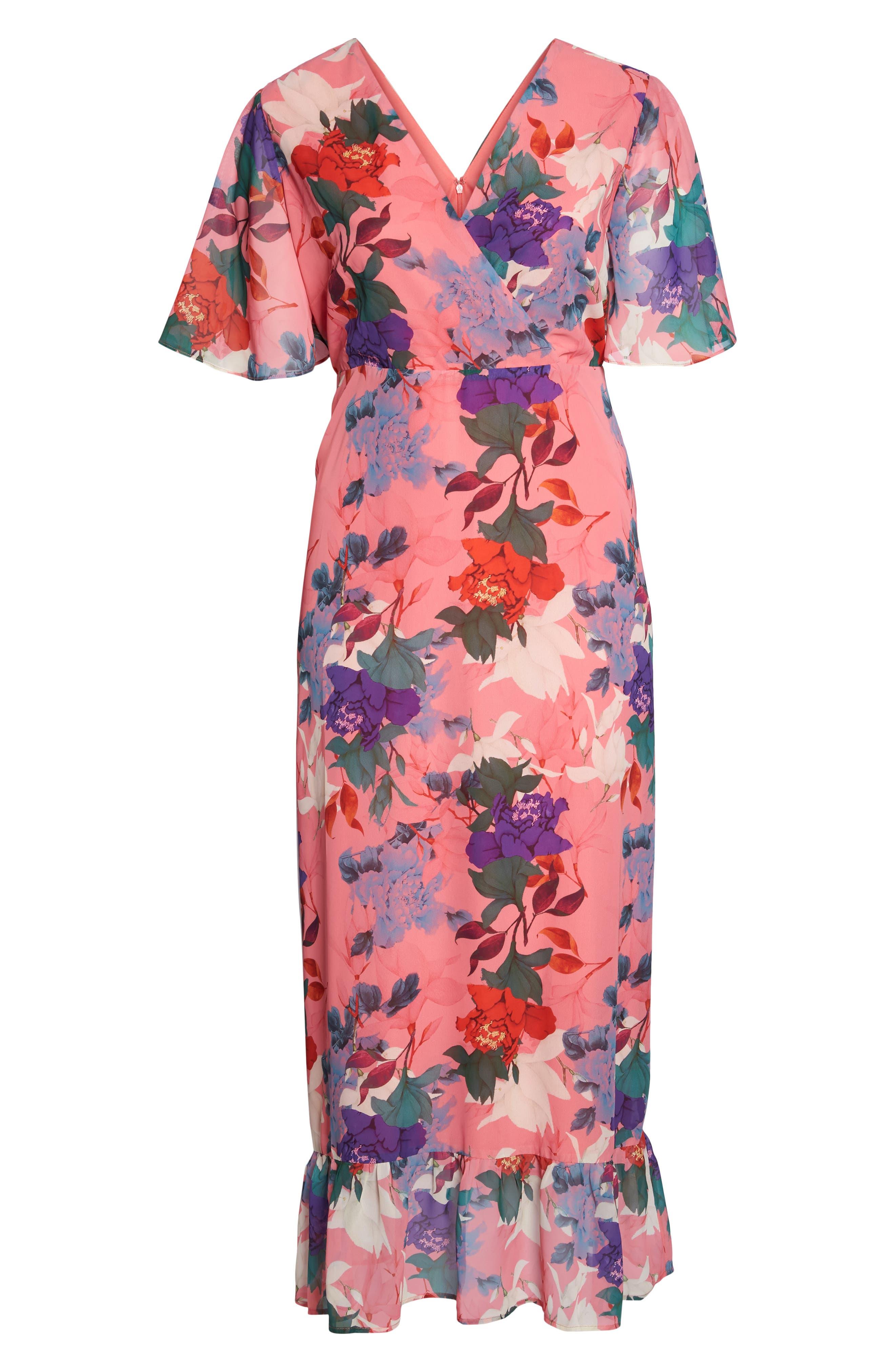 Floral Kimono Maxi Dress,                             Alternate thumbnail 6, color,                             Multi