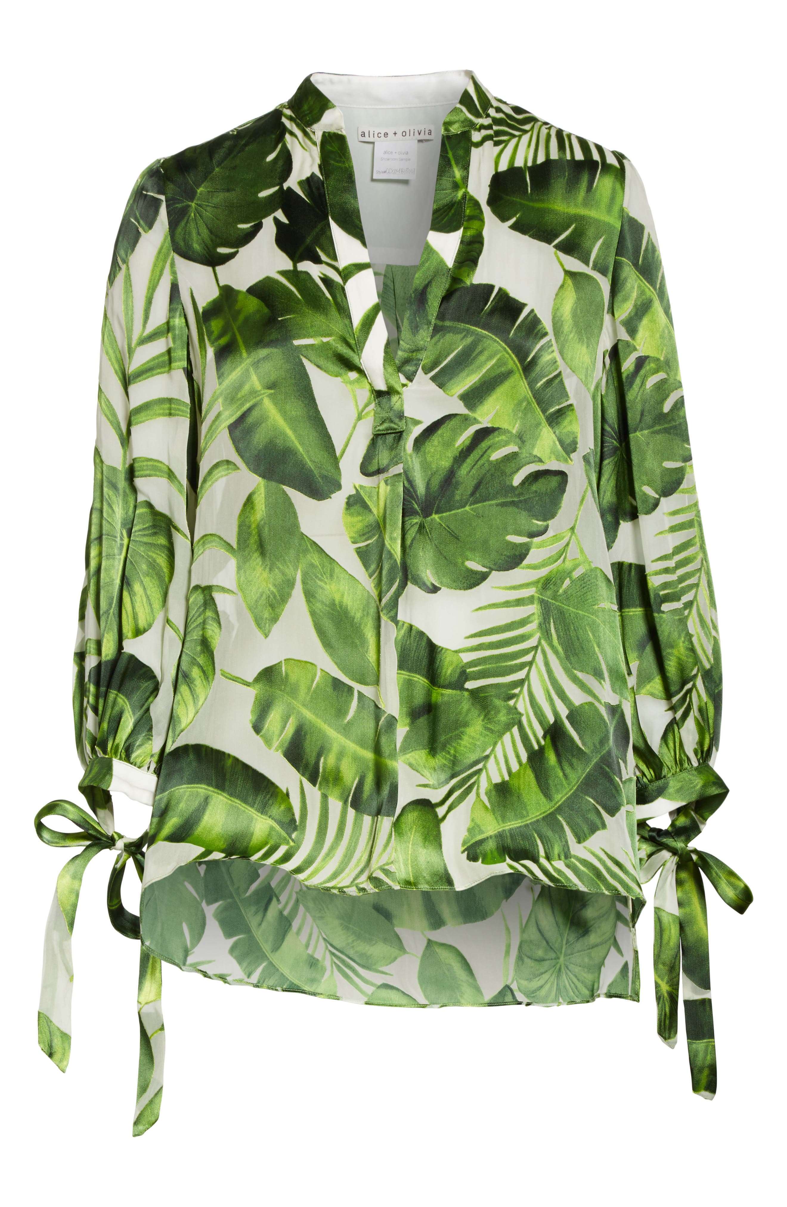 Sheila Tie Sleeve Top,                             Alternate thumbnail 6, color,                             Tropical Leaves