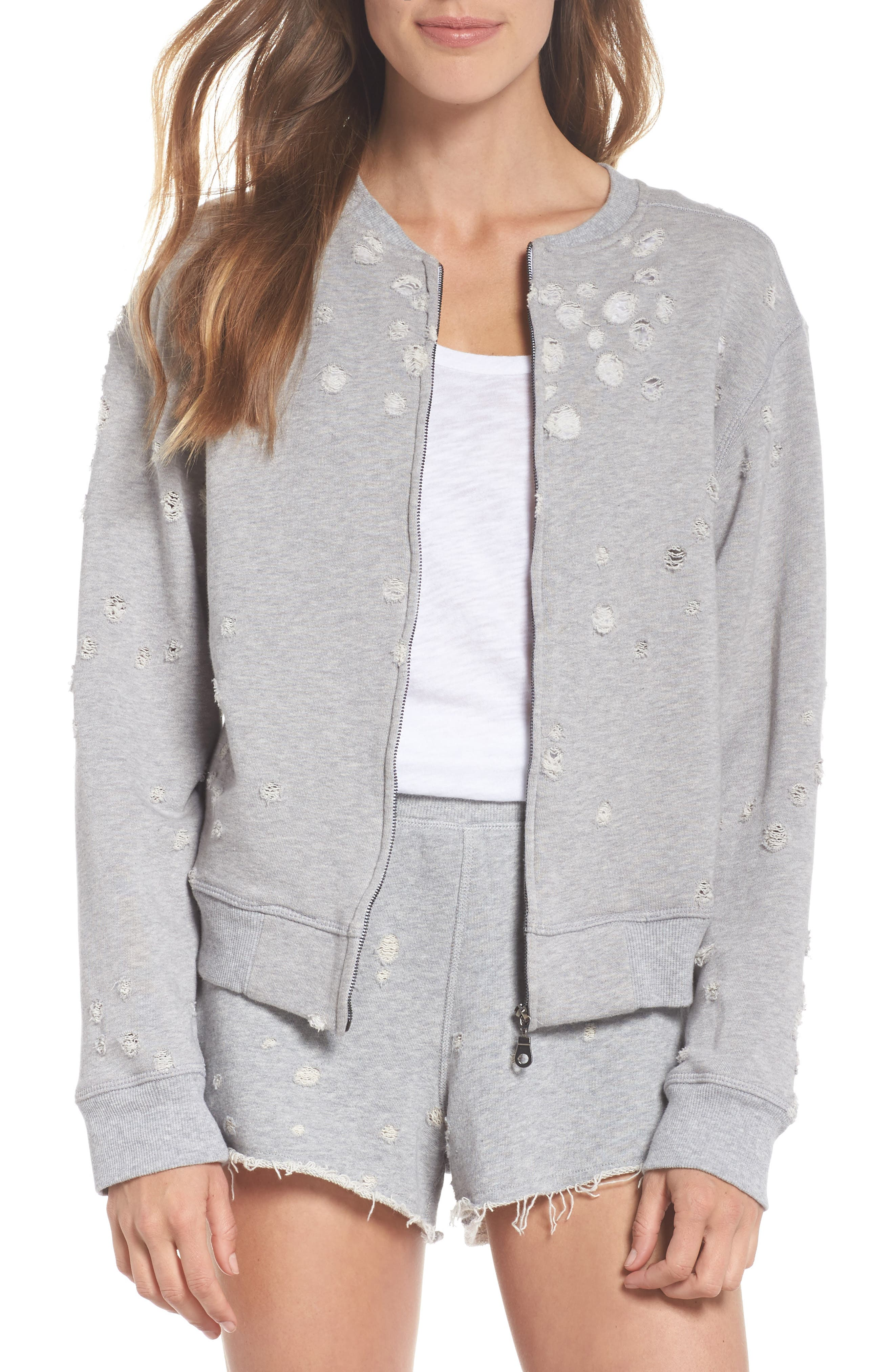 DAVID LERNER Distressed Zip Sweatshirt in Heather Grey