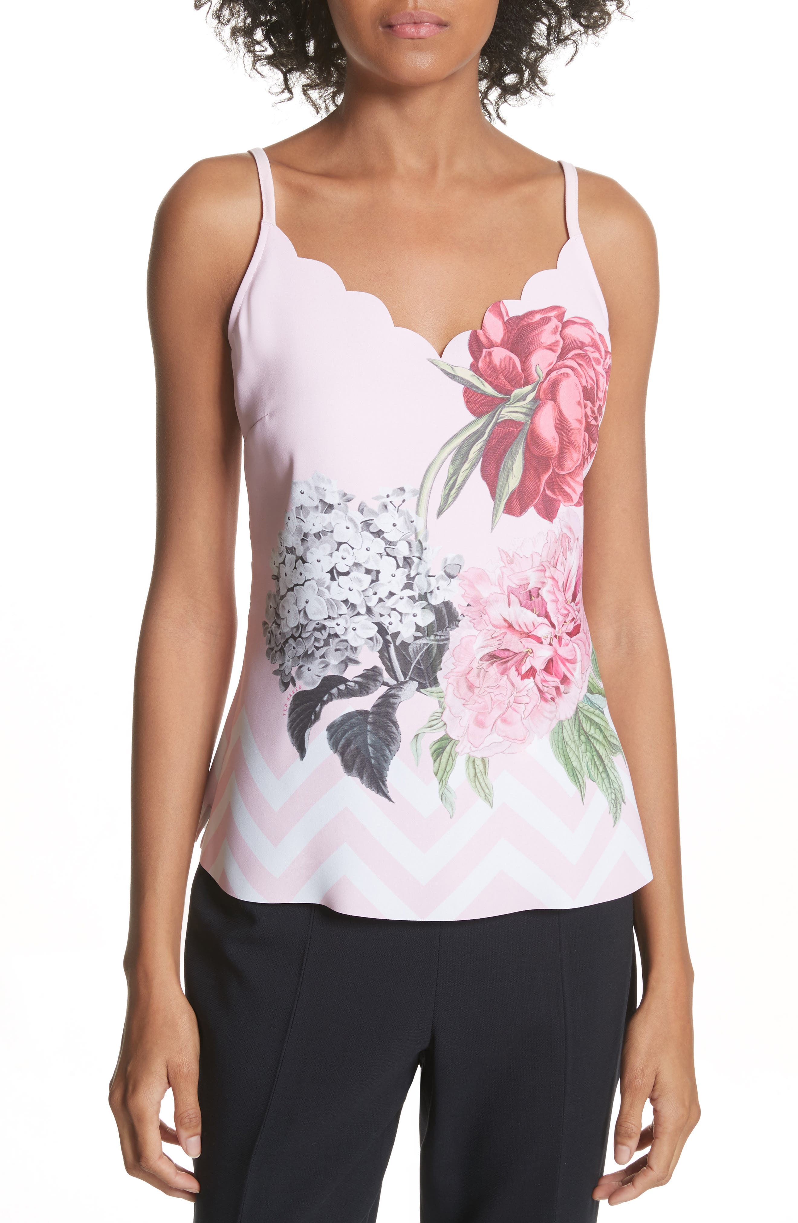 Palace Gardens Scalloped Camisole,                             Main thumbnail 1, color,                             Pale Pink