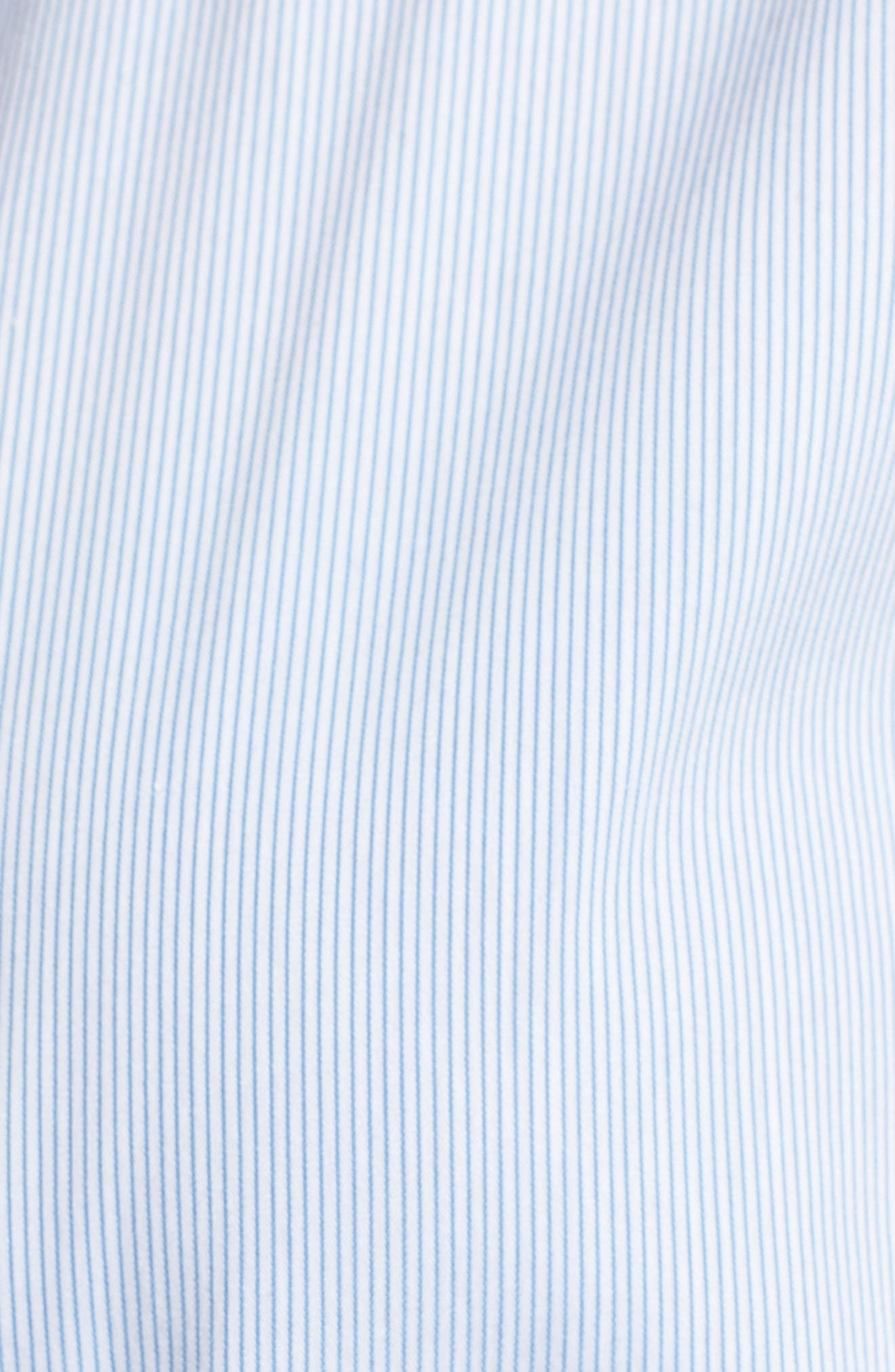 Ruched Poplin Top,                             Alternate thumbnail 6, color,                             Blue/ White Pinstripe