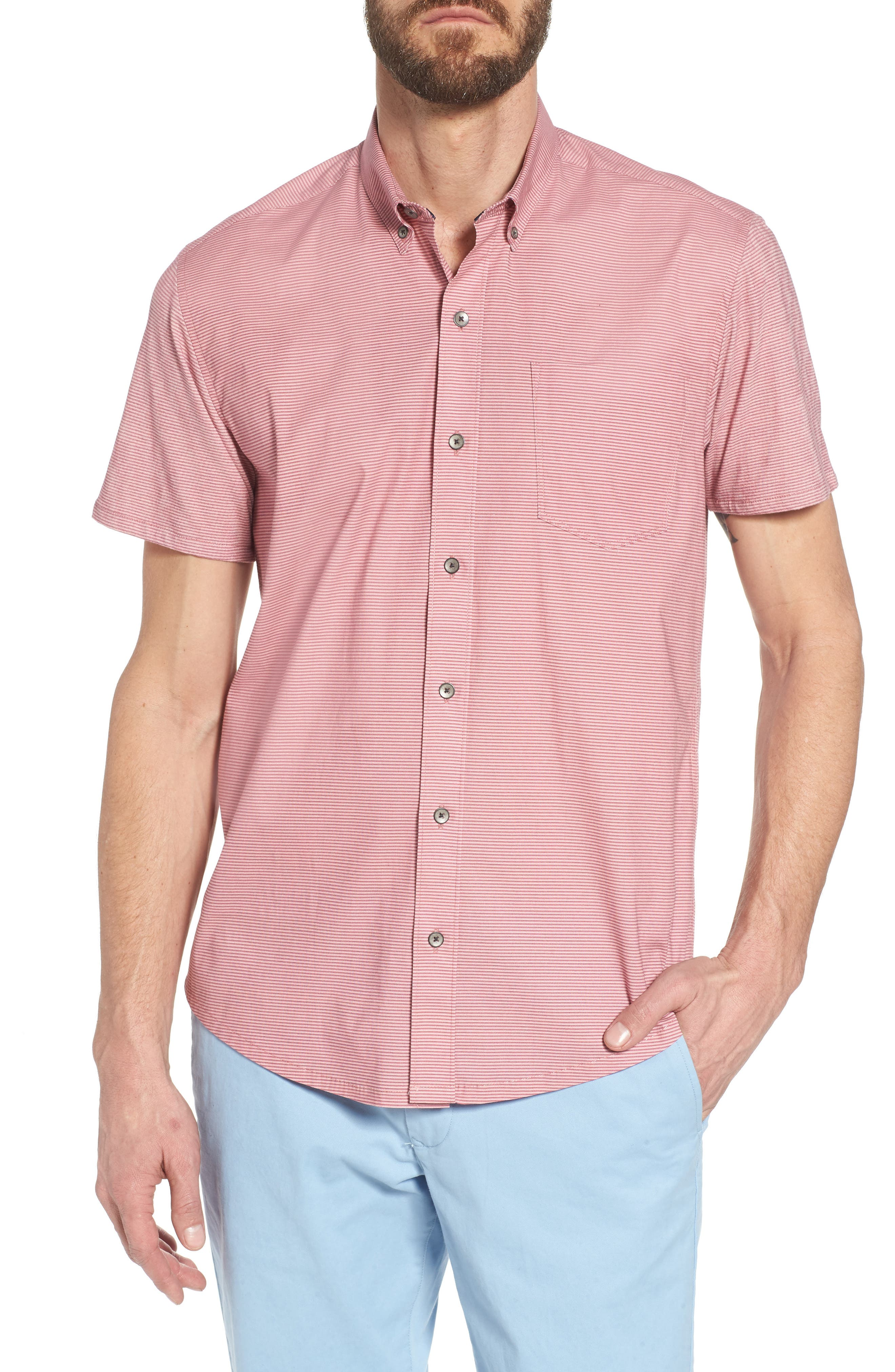 Reworked Slim Fit Micro Stripe Sport Shirt,                             Main thumbnail 1, color,                             Pink