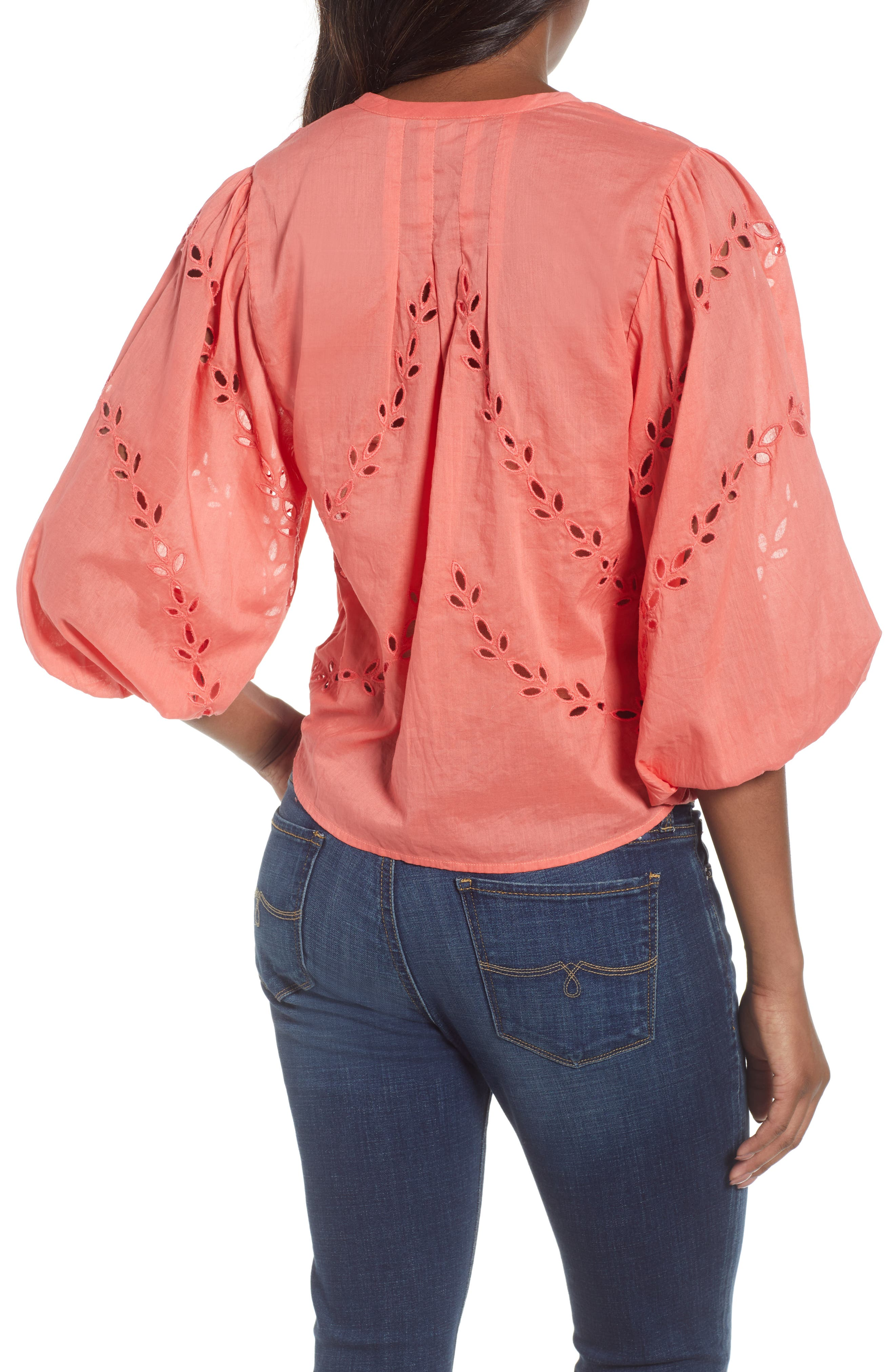 Alternate Image 2  - Lucky Brand Eyelet Tie Front Cotton Peasant Blouse