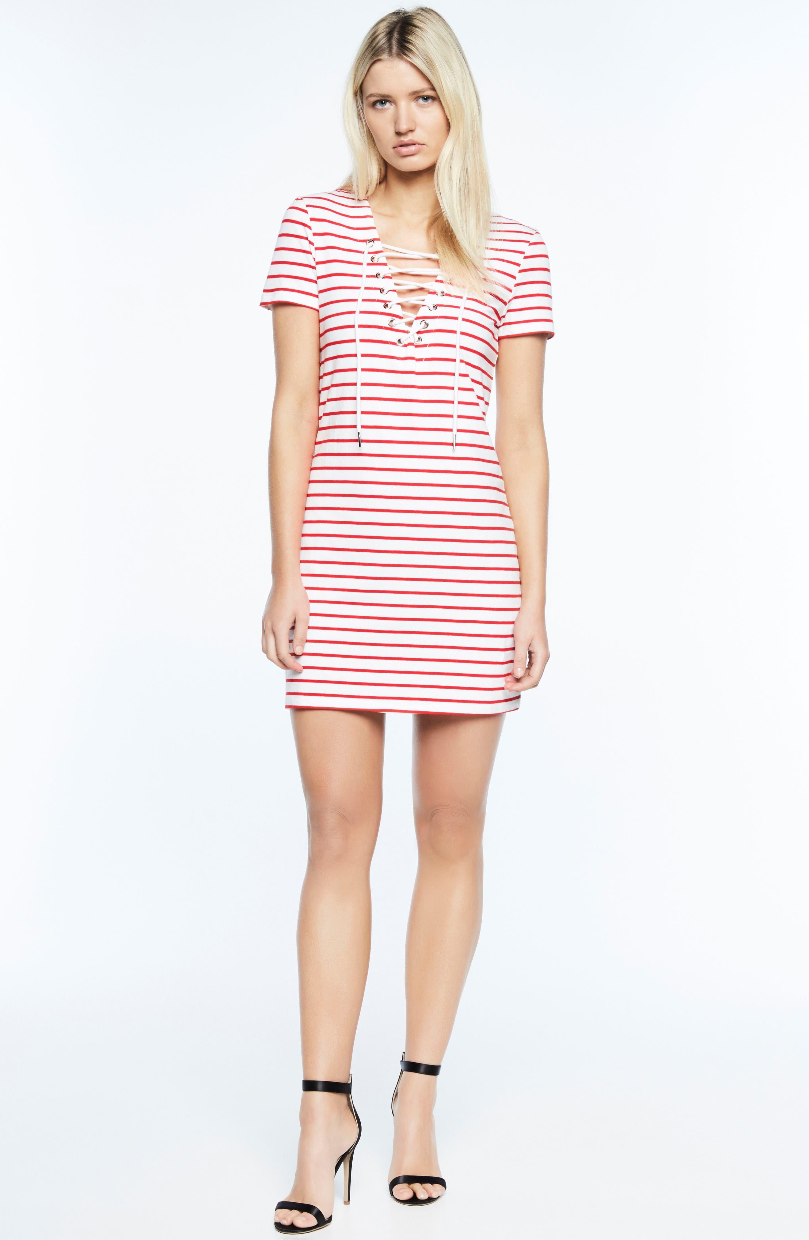 Stripe Shift Dress,                             Alternate thumbnail 3, color,                             Red Stripe