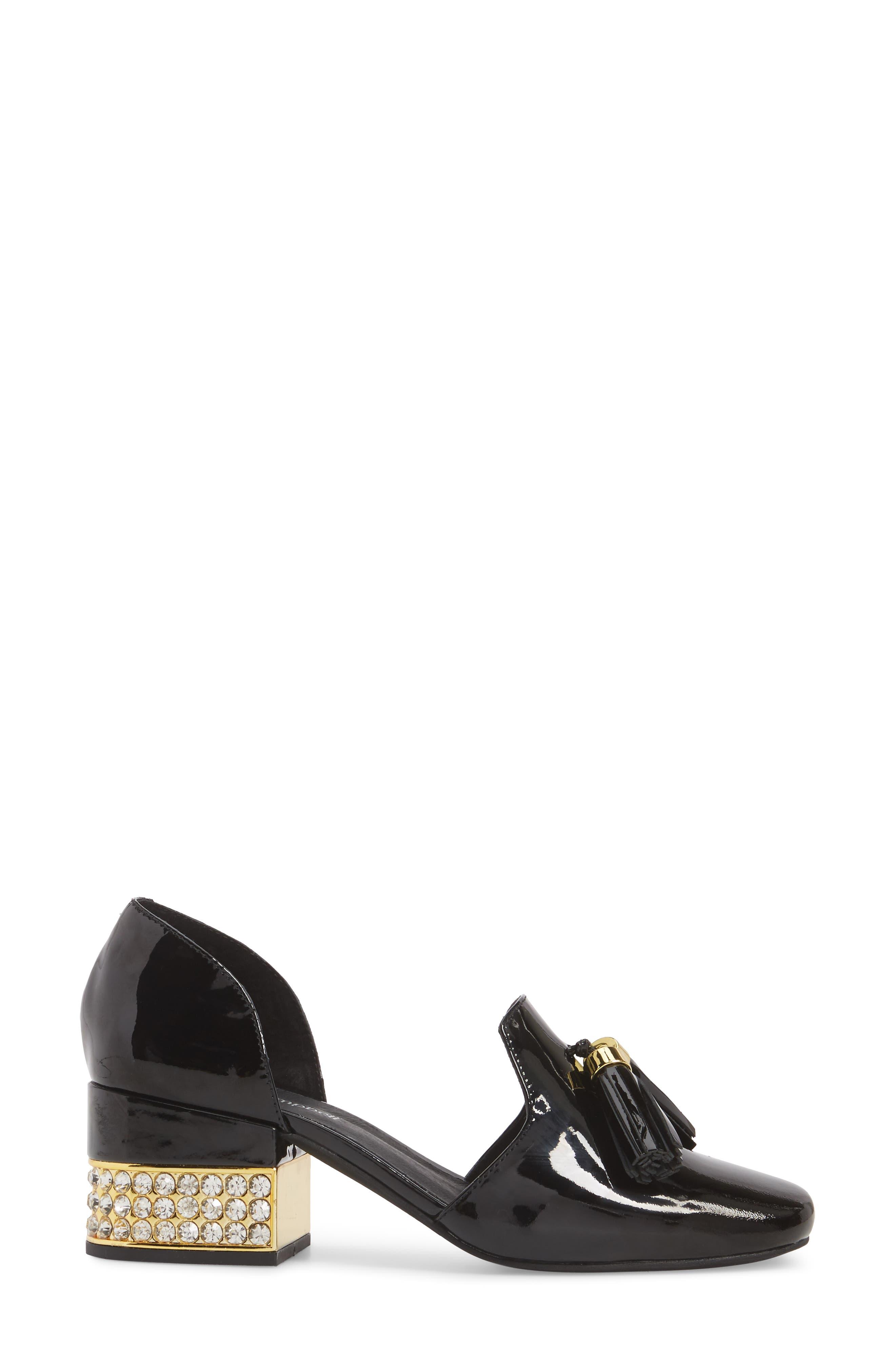 Genial Statement Heel d'Orsay Pump,                             Alternate thumbnail 3, color,                             Black Patent Leather