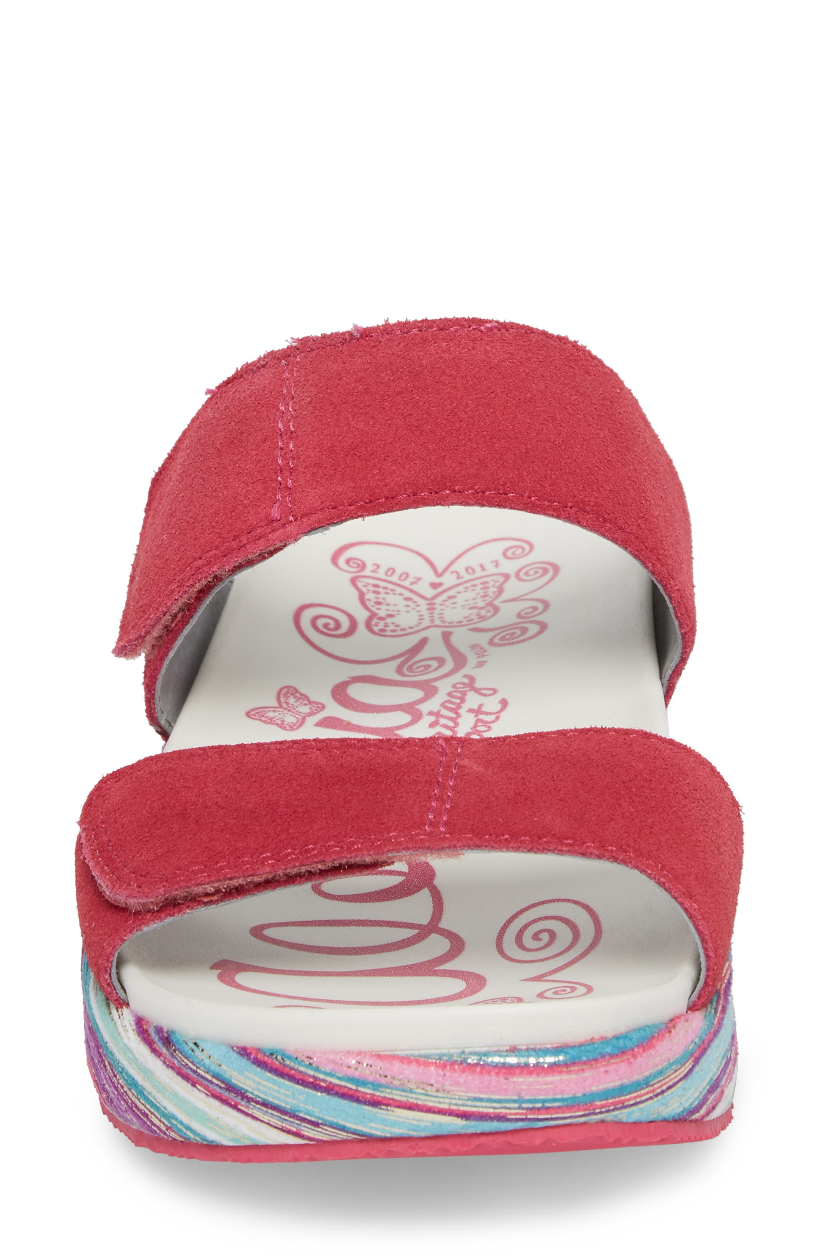 by PG Lite Mixie Slide Sandal,                             Alternate thumbnail 4, color,                             Fuchsia Party Leather