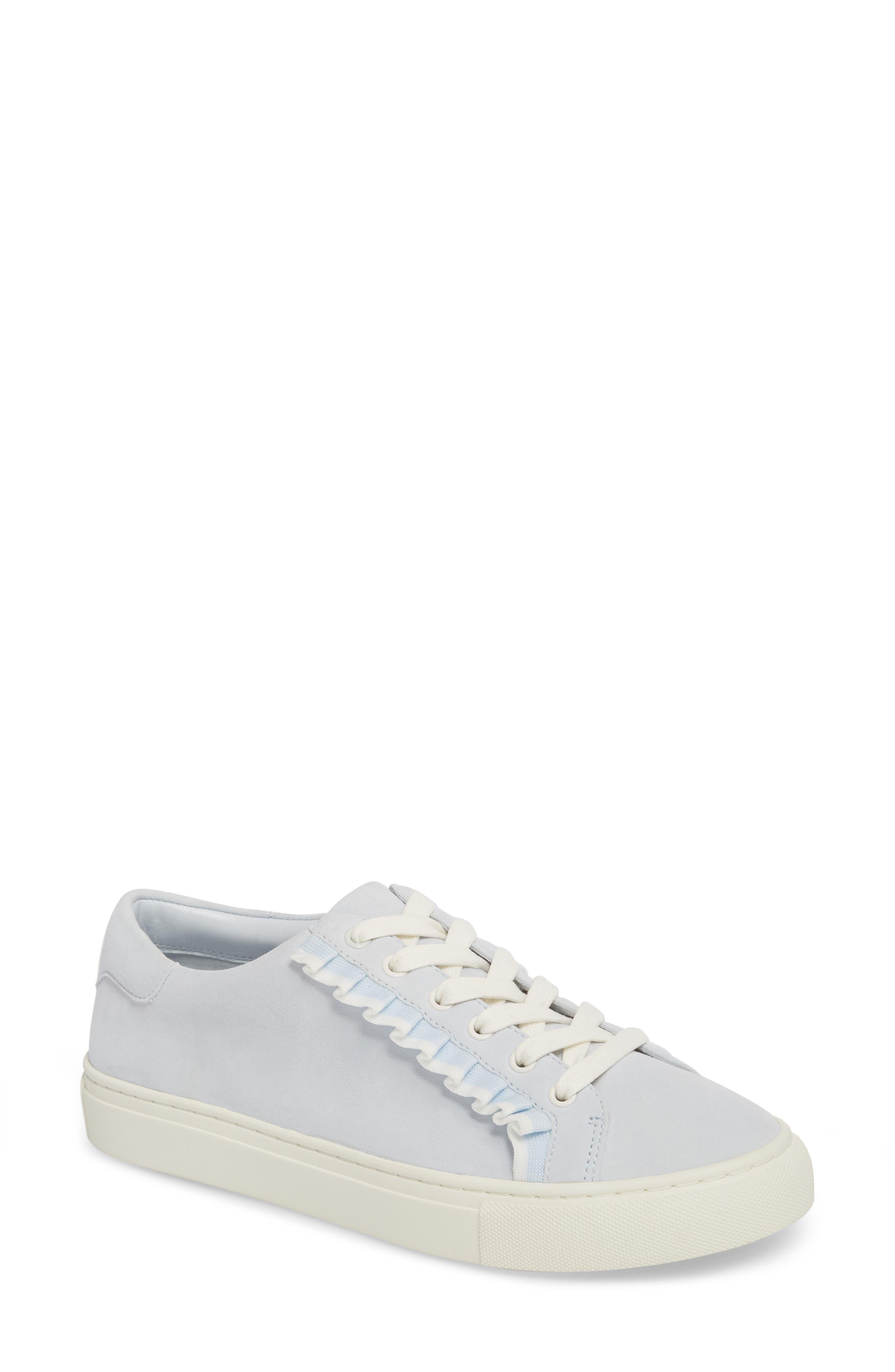 Ruffle Sneaker,                         Main,                         color, Blue Silk Suede