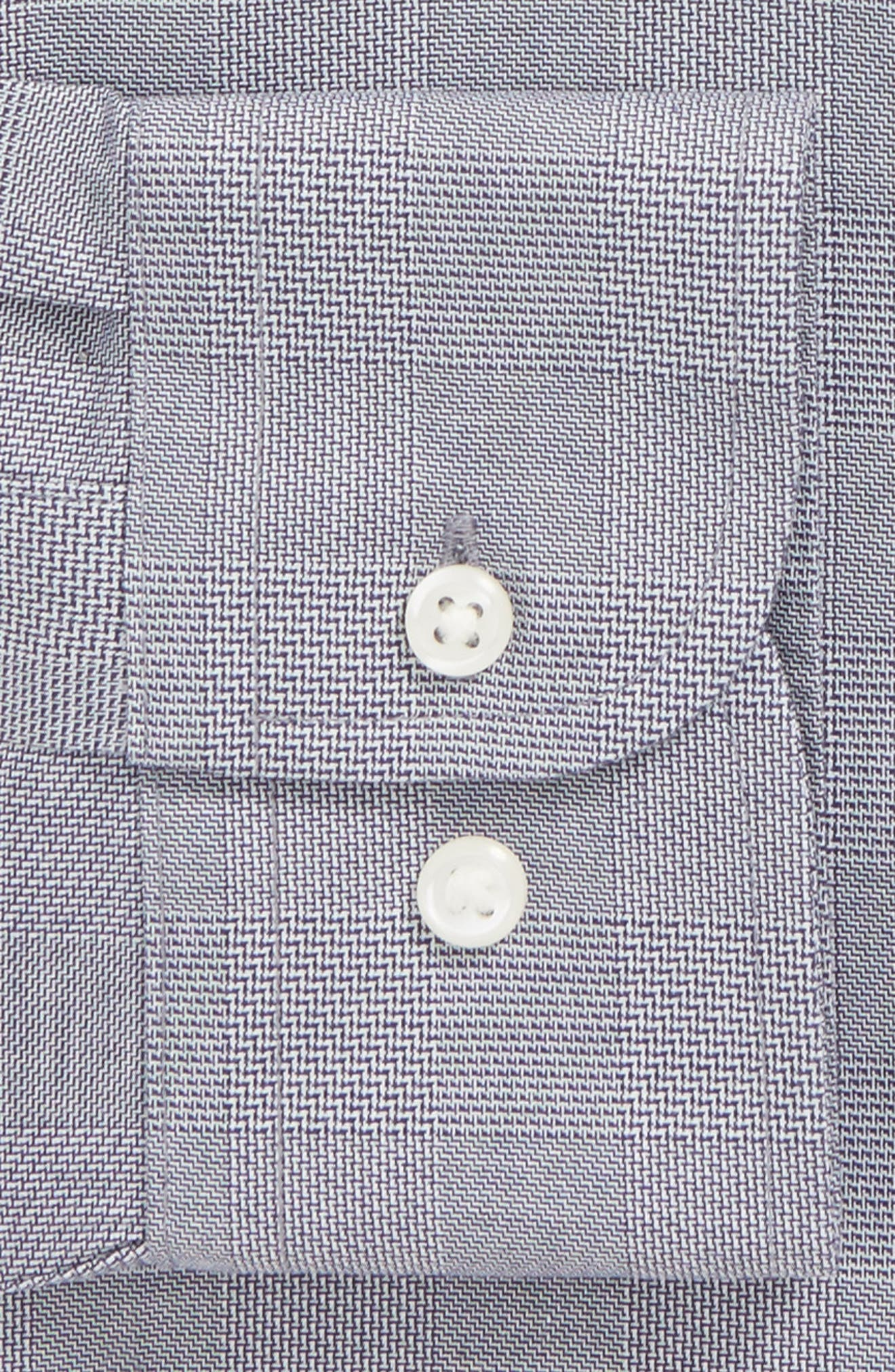 Smartcare<sup>™</sup> Trim Fit Plaid Dress Shirt,                             Alternate thumbnail 5, color,                             Grey Grisaille