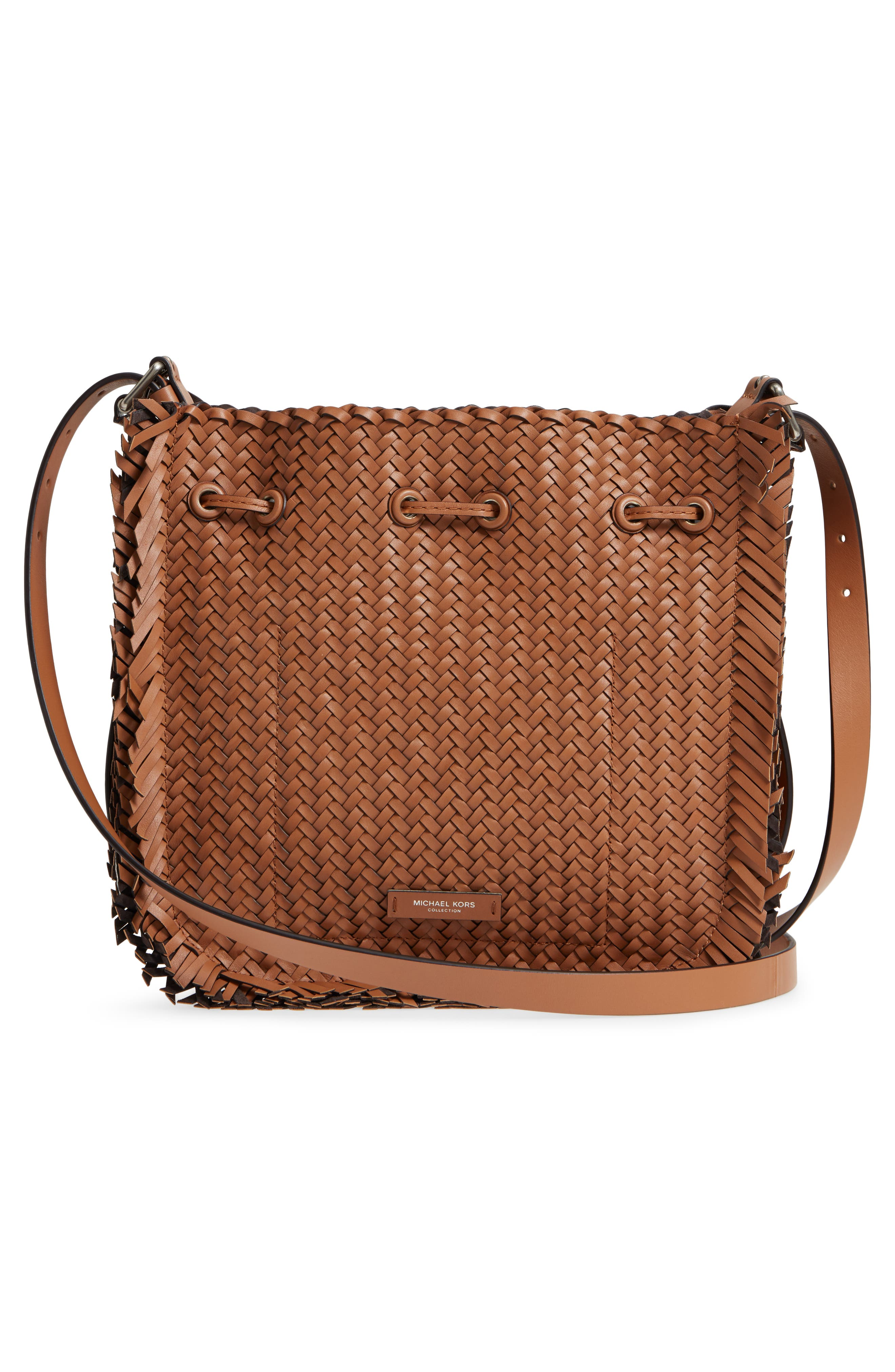 Maldives Woven Frayed Leather Crossbody Bag,                             Alternate thumbnail 3, color,                             Acorn