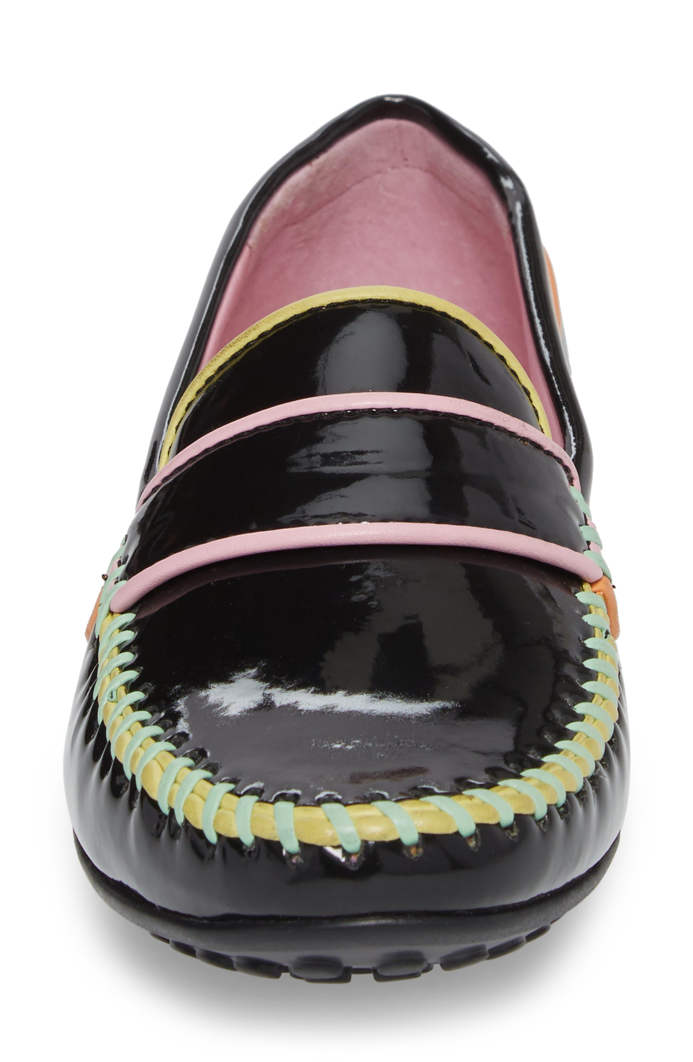 Moccasin Loafer,                             Alternate thumbnail 4, color,                             Black/ Black Patent