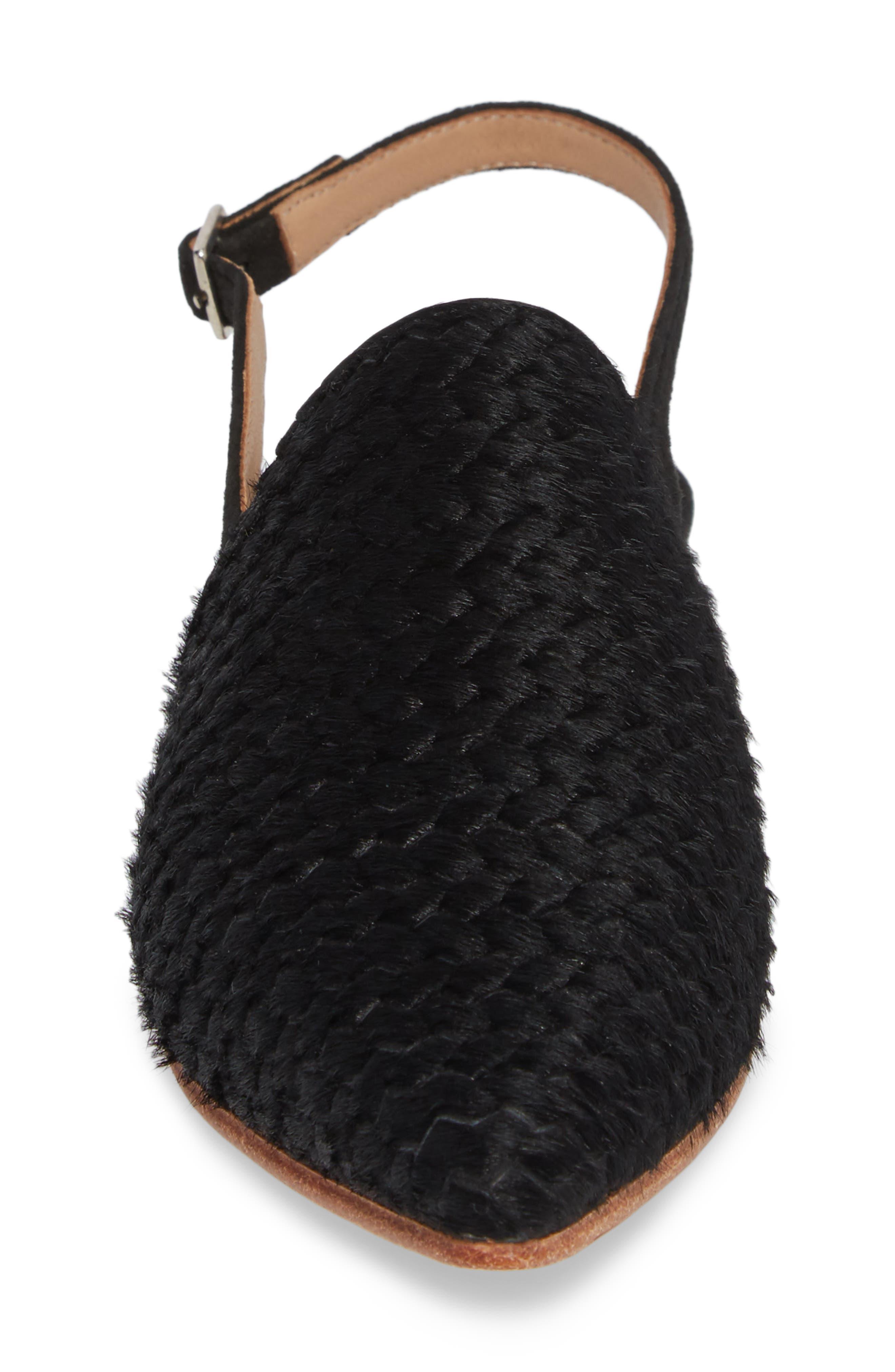Oriana Genuine Calf Hair Flat,                             Alternate thumbnail 4, color,                             Coal Braided Calf Hair