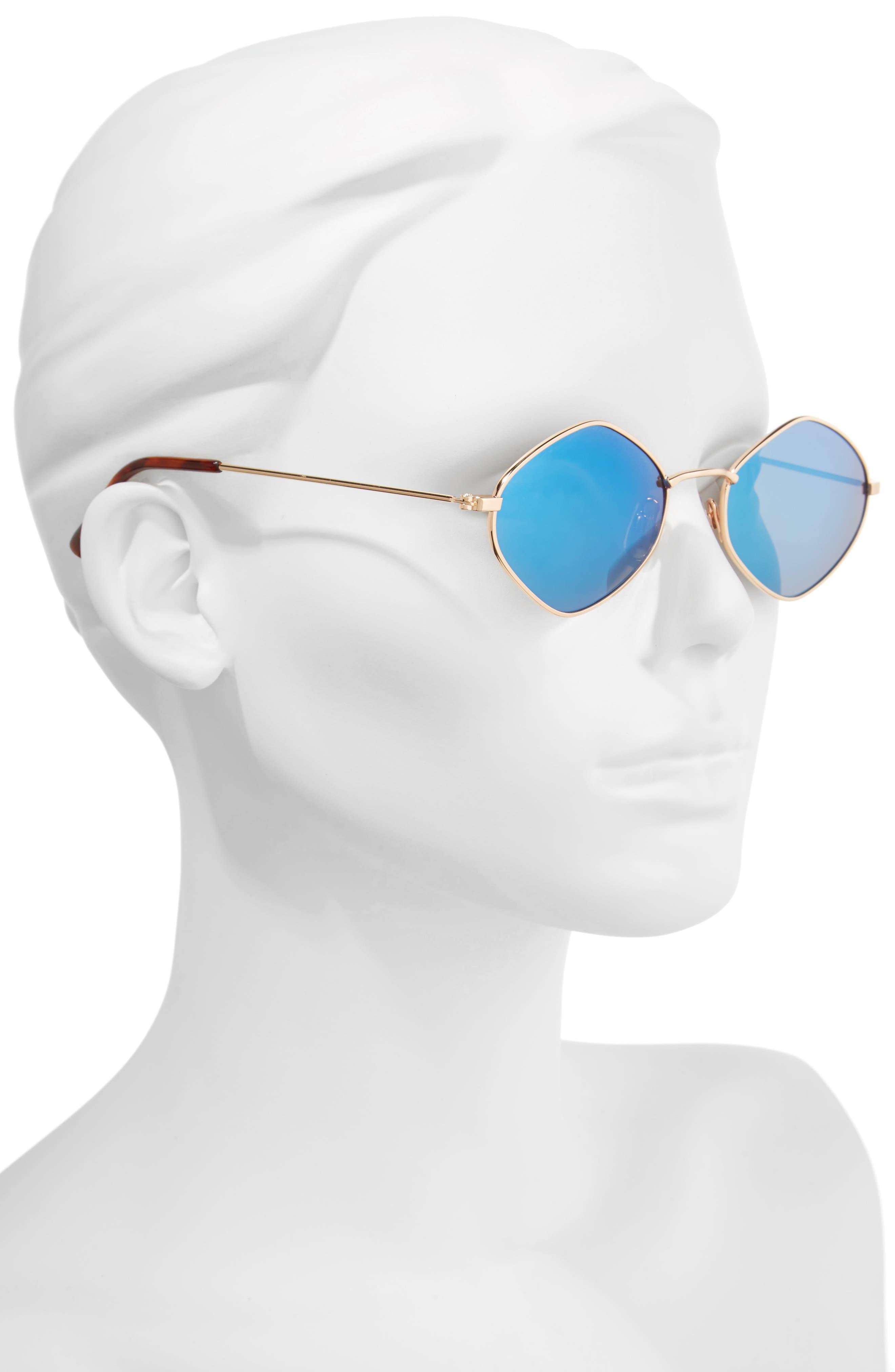 57mm Geo Sunglasses,                             Alternate thumbnail 2, color,                             Gold/ Blue