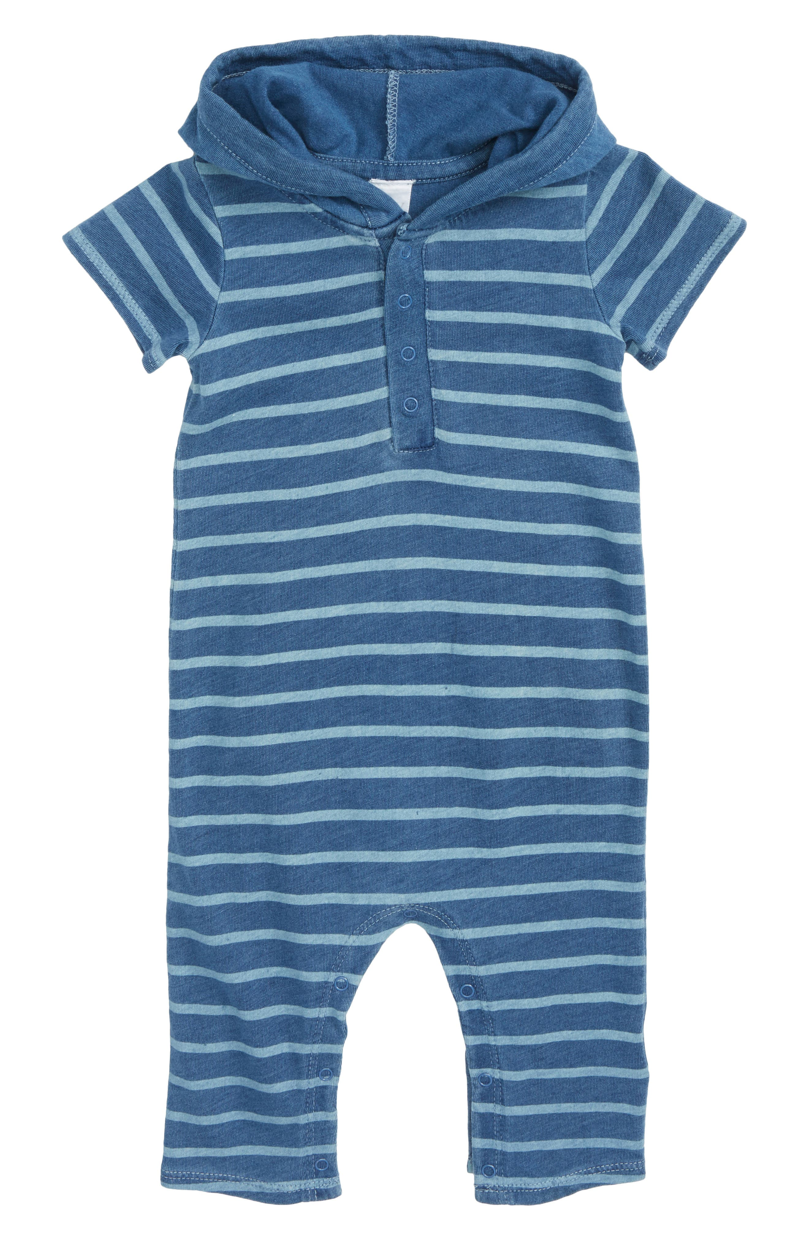 Hooded Romper,                         Main,                         color, Blue Indigo Breton