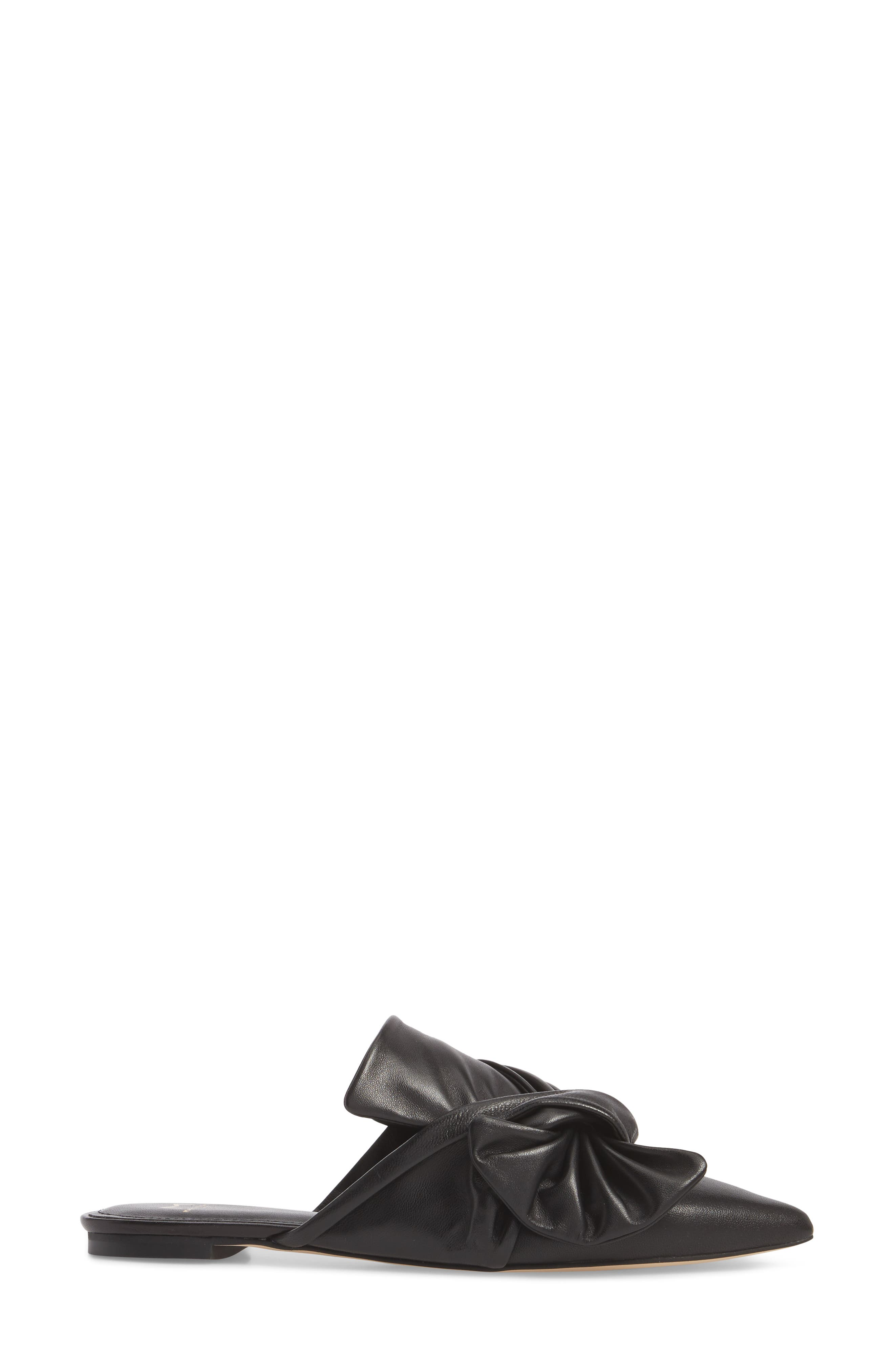 Shafi Pointy Toe Slide,                             Alternate thumbnail 3, color,                             Black Leather