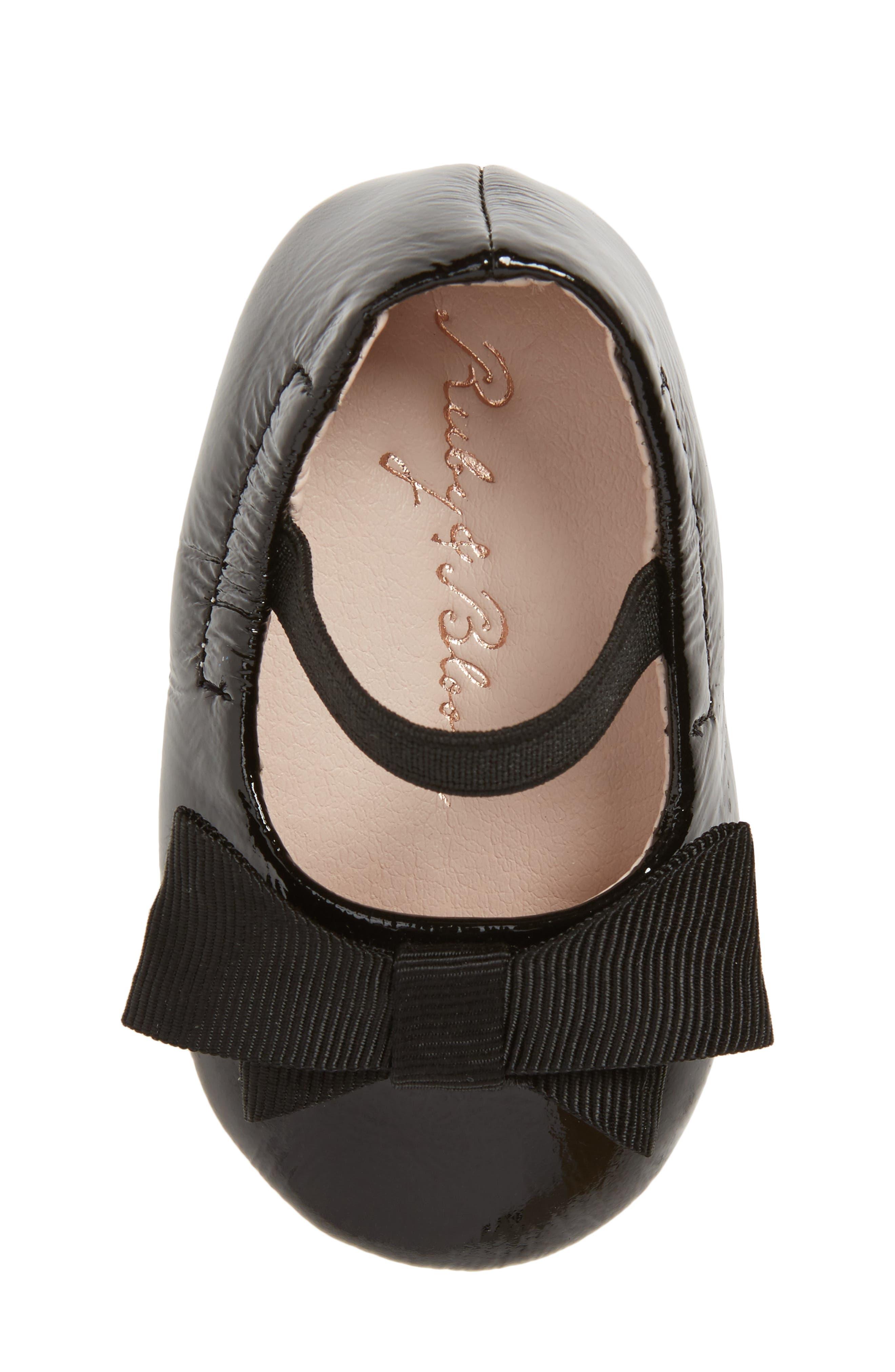 Lilia Mary Jane Flat,                             Alternate thumbnail 5, color,                             Black Patent Leather