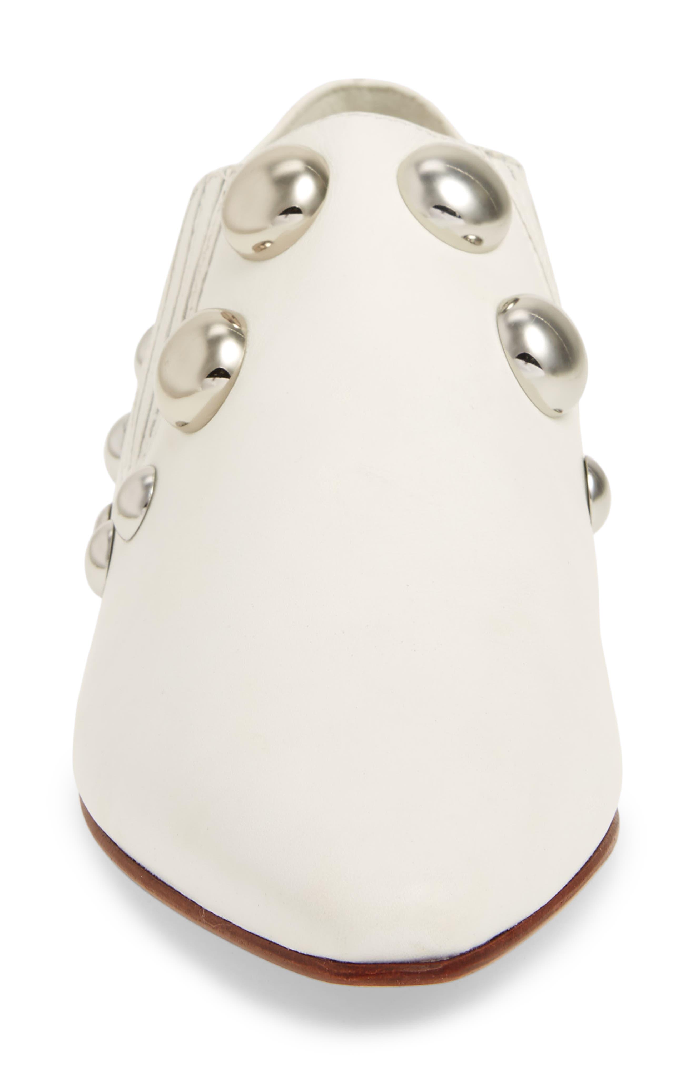 Blythe Studded Loafer,                             Alternate thumbnail 4, color,                             White
