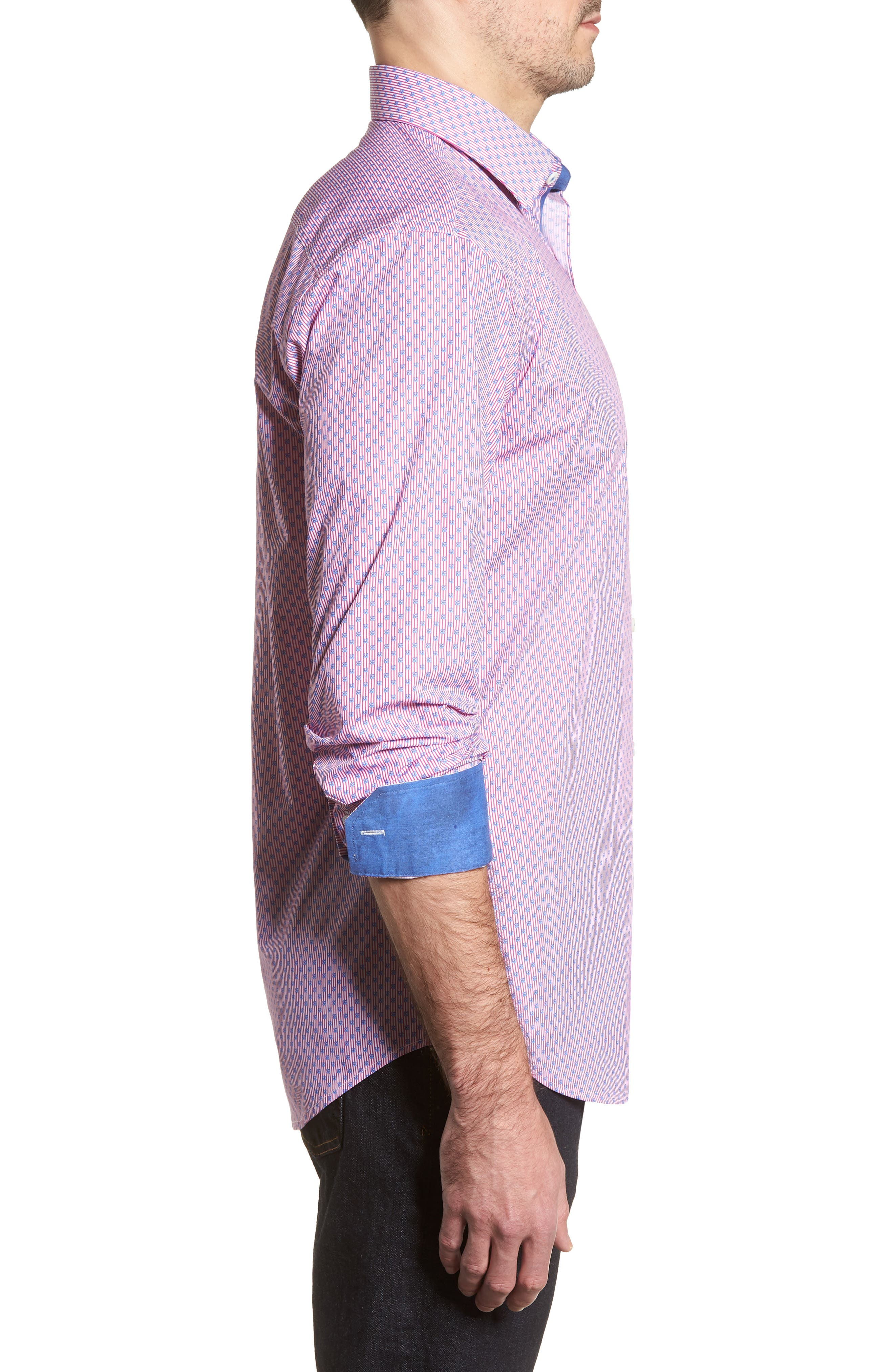 Flowers & Pinstripes Shaped Fit Sport Shirt,                             Alternate thumbnail 3, color,                             Pink