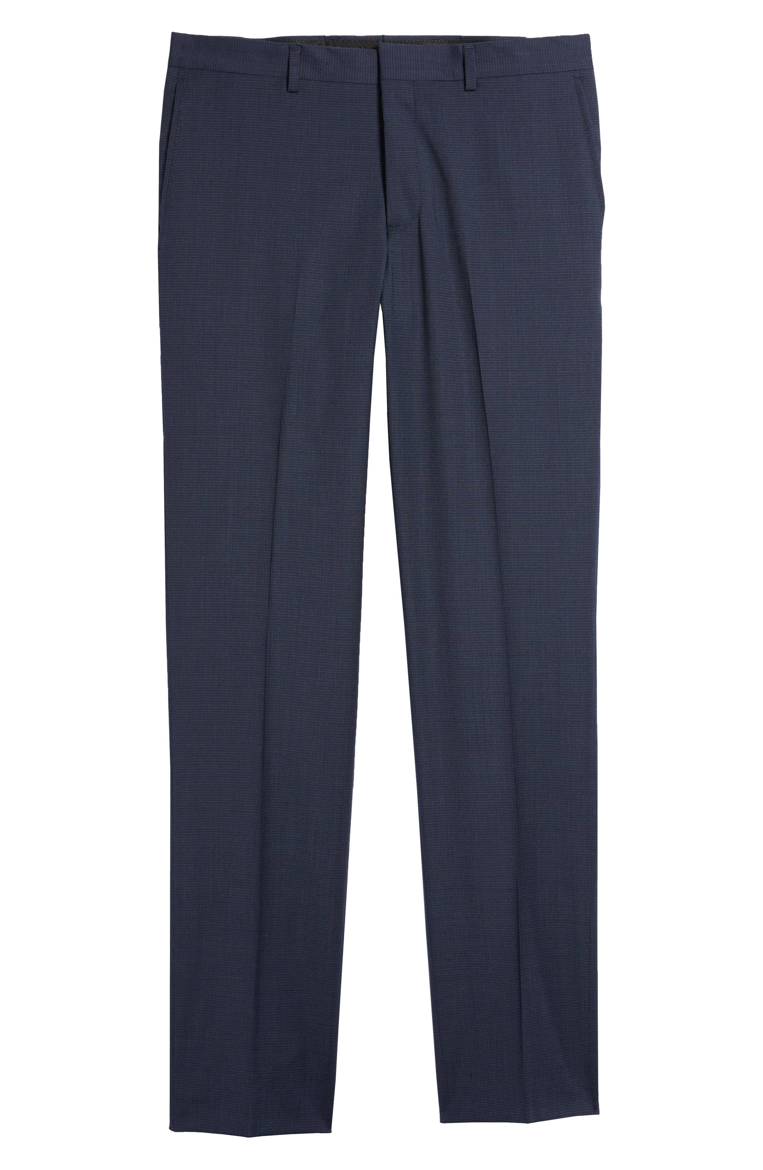 Tech-Smart Flat Front Stretch Wool Pants,                             Alternate thumbnail 6, color,                             Navy