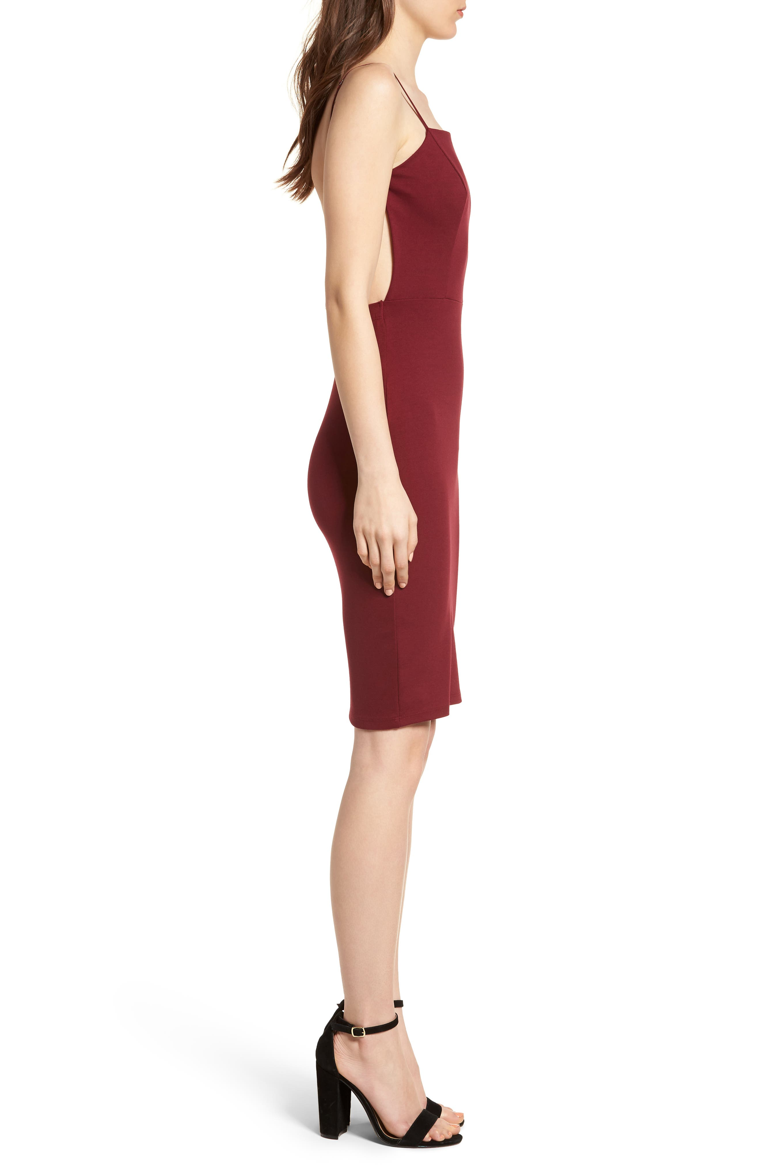 Open Back Body-Con Dress,                             Alternate thumbnail 3, color,                             Wine