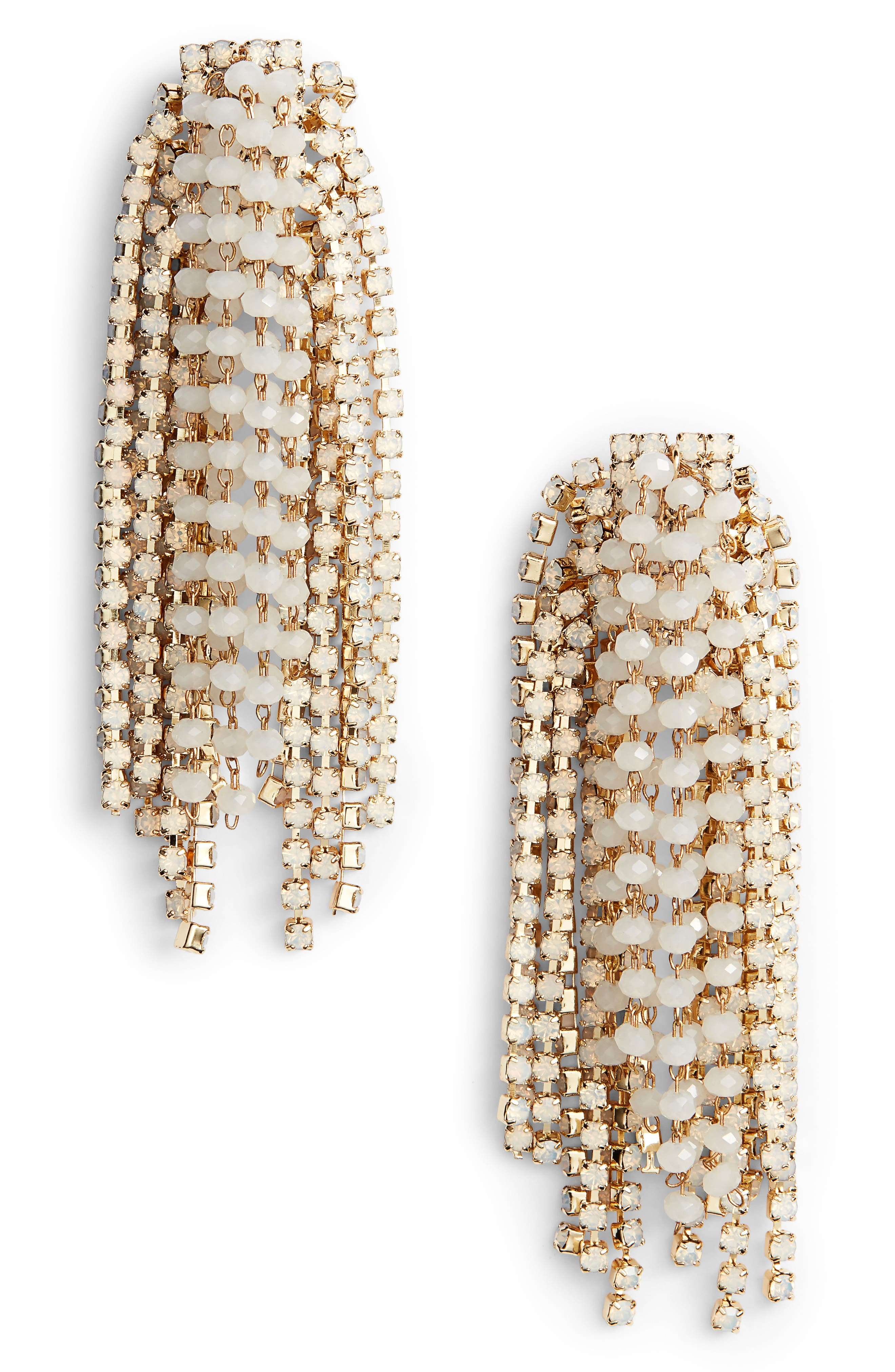Crystal Statement Earrings,                         Main,                         color, White