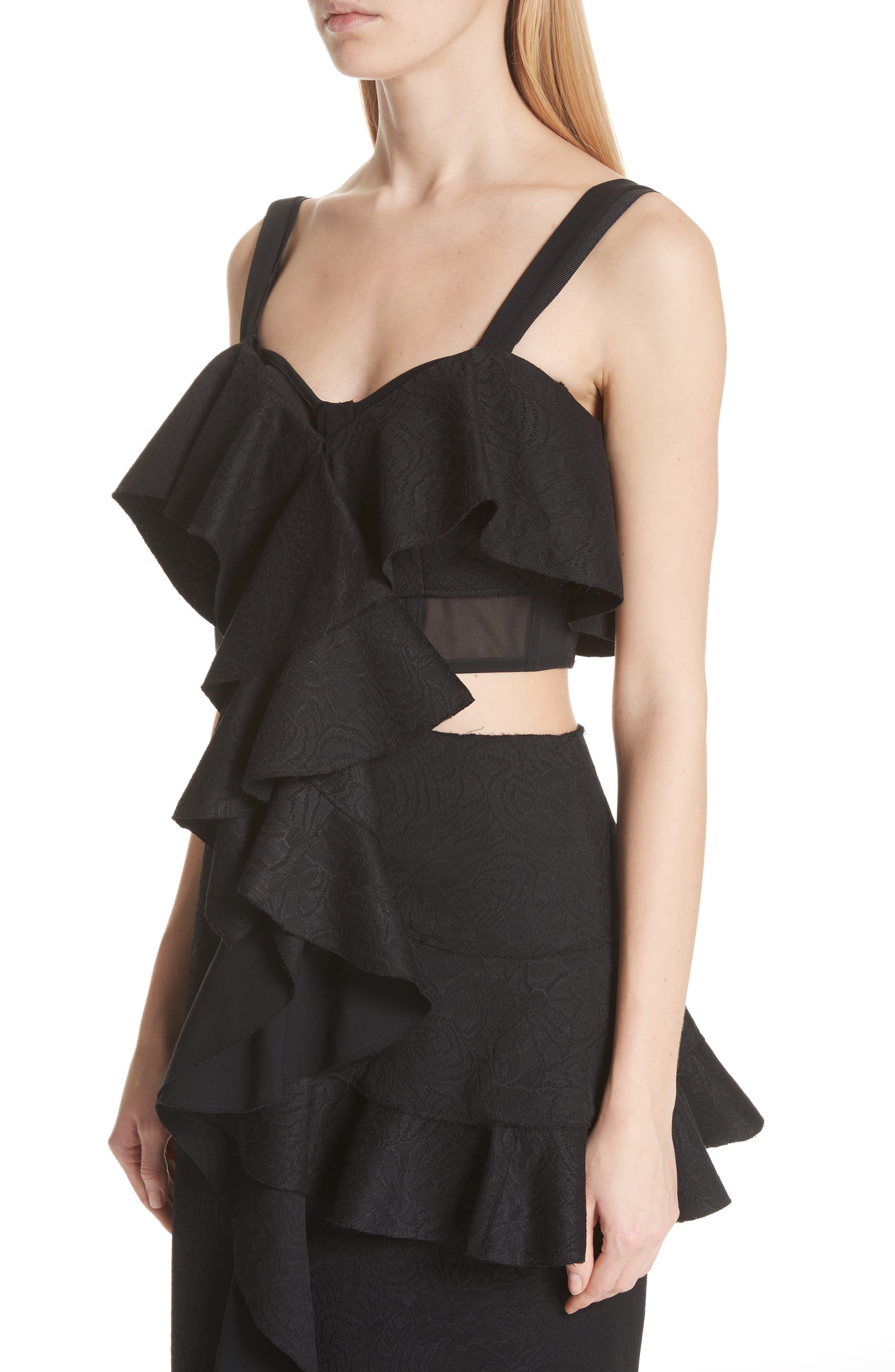 Ruffle Midi Dress,                             Alternate thumbnail 4, color,                             Black