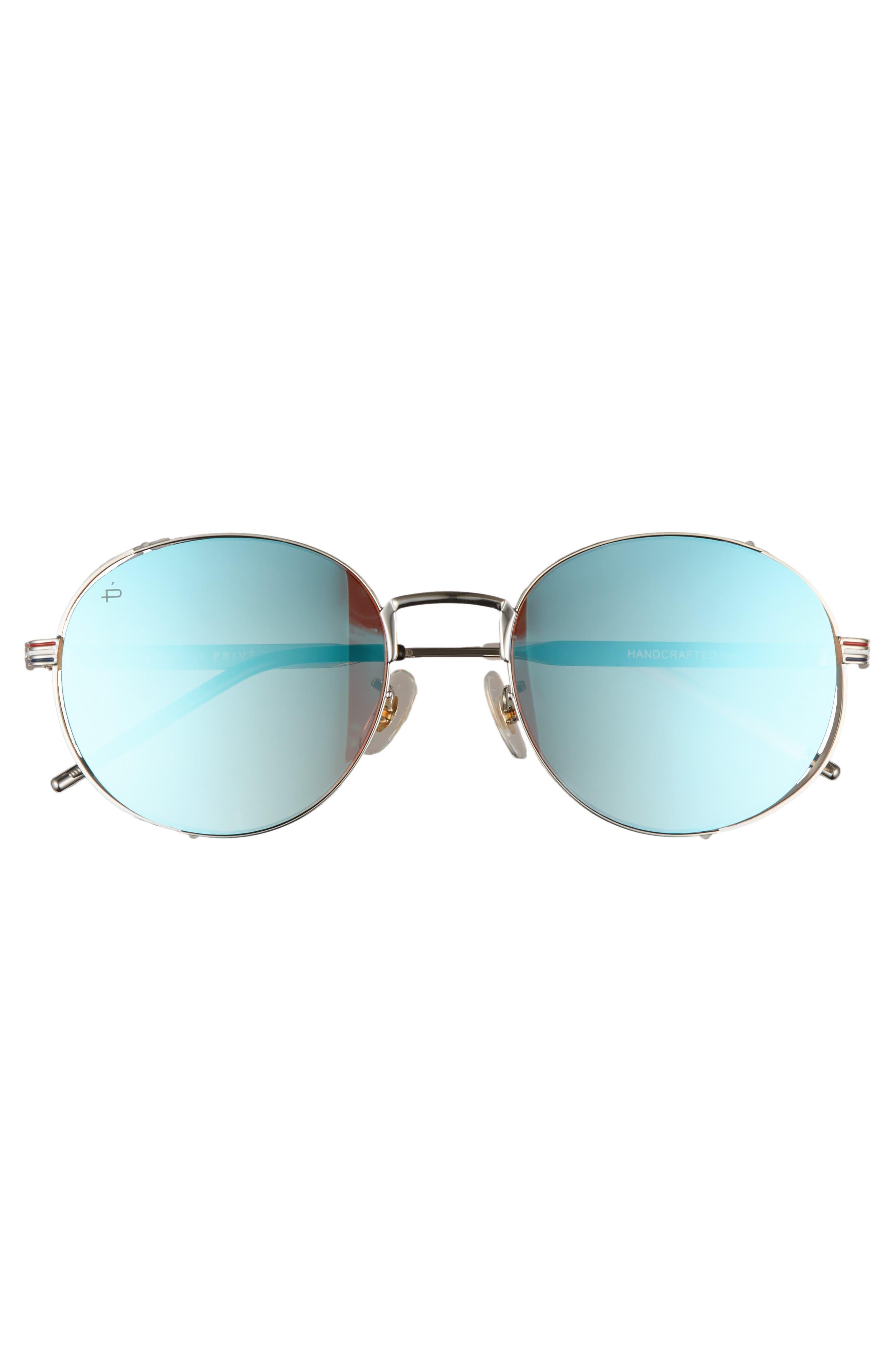 Privé Revaux The Riviera Round Sunglasses,                             Alternate thumbnail 4, color,                             Blue