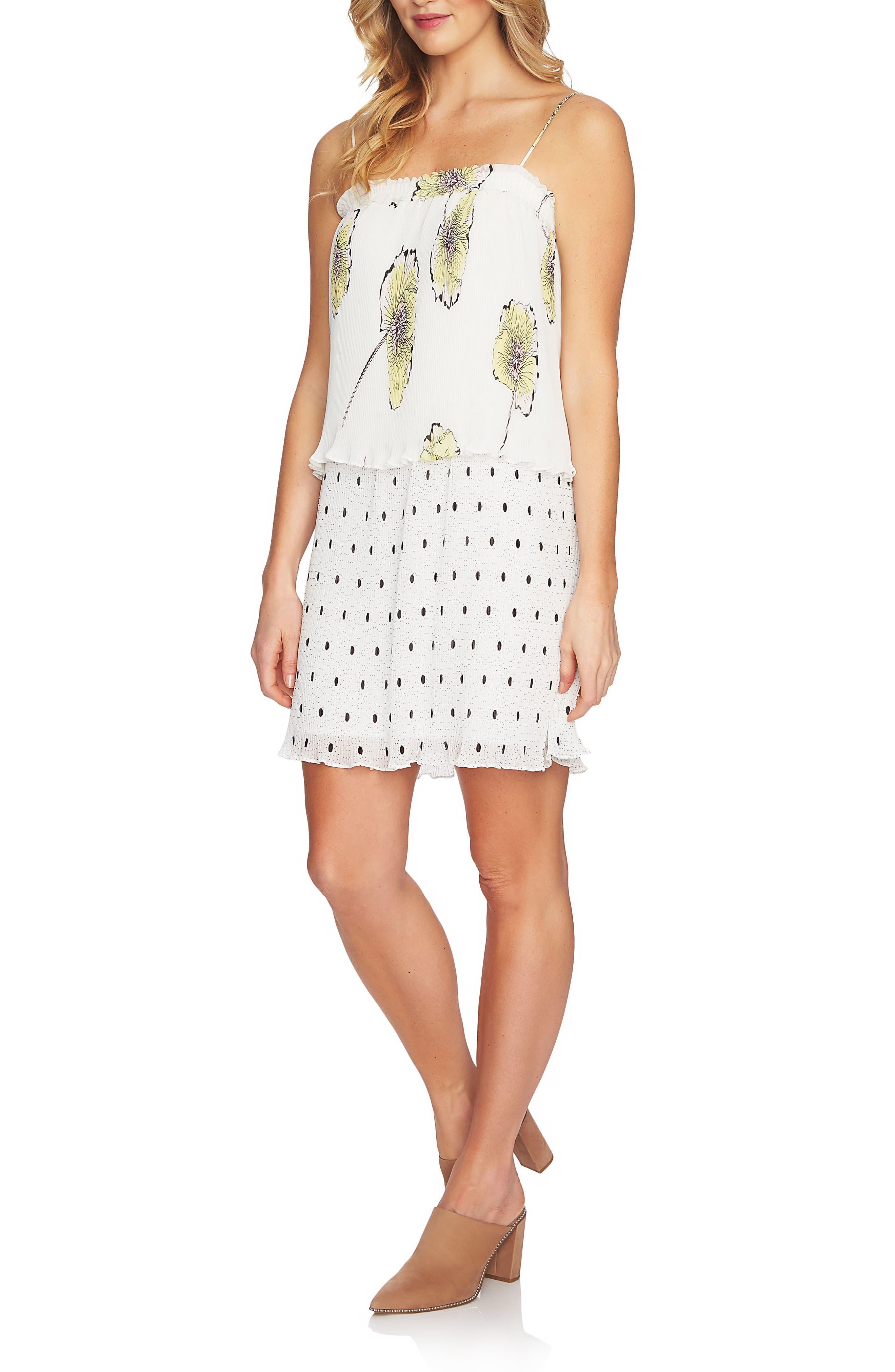 Mixed Print Pleated Shift Dress,                         Main,                         color, 108-Antiq. White