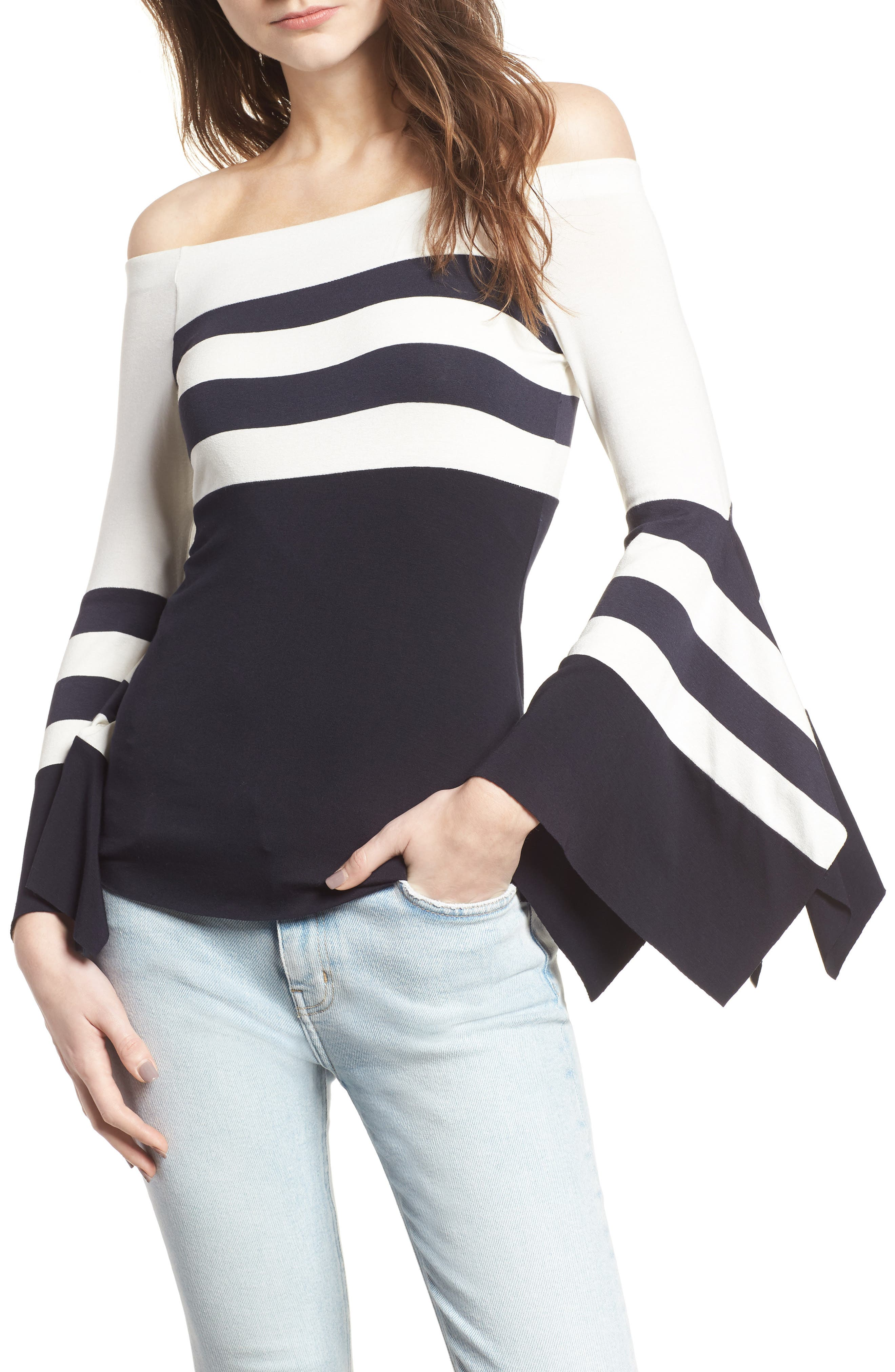 Bluebell Statement Sleeve Off the Shoulder Top,                         Main,                         color, Stripe Jersey