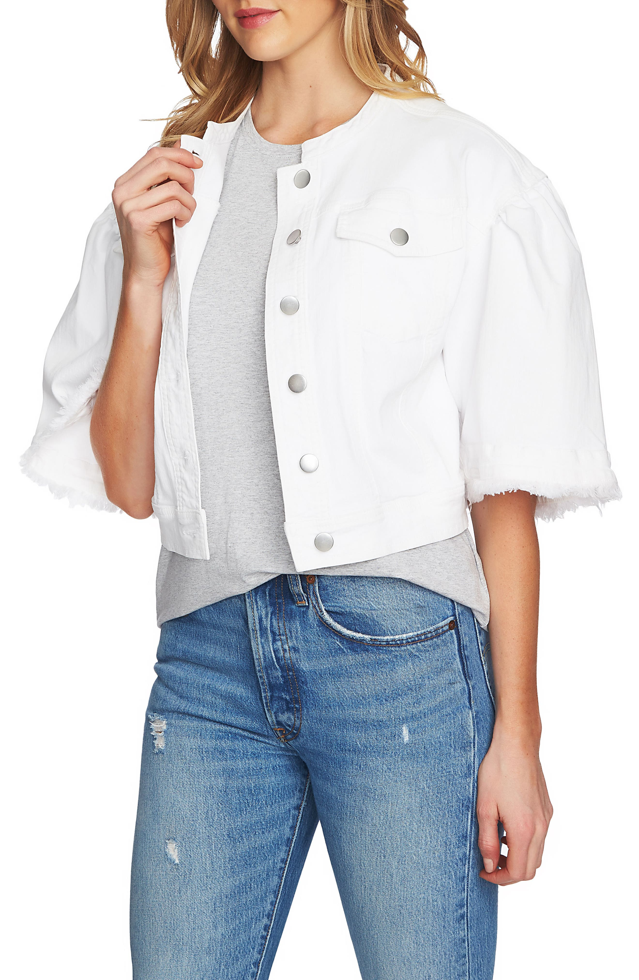 Collarless Wide Sleeve Denim Jacket,                             Main thumbnail 1, color,                             Ultra Whit