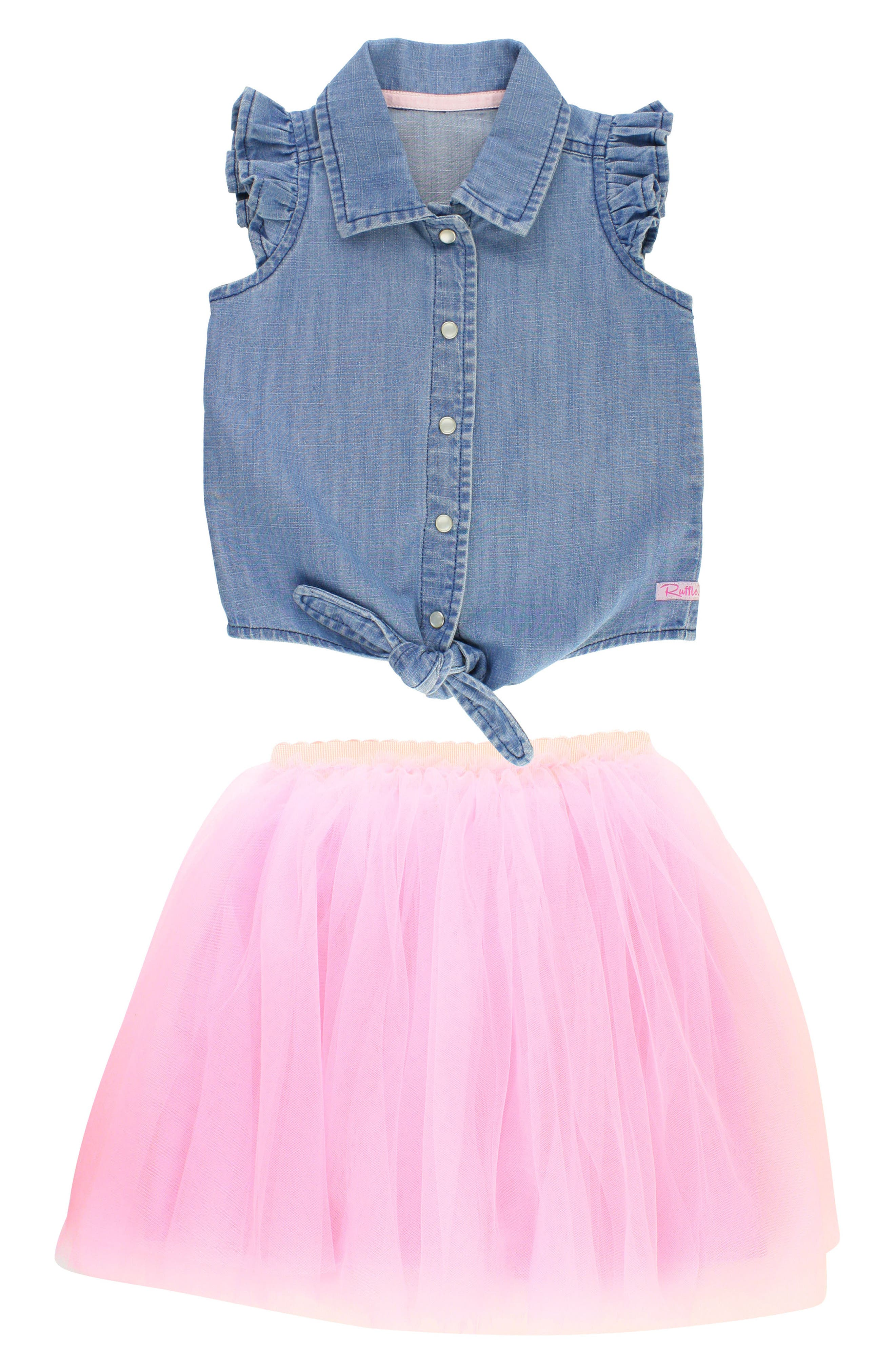 Chambray Tie Top & Tulle Skirt Set,                         Main,                         color, Pink
