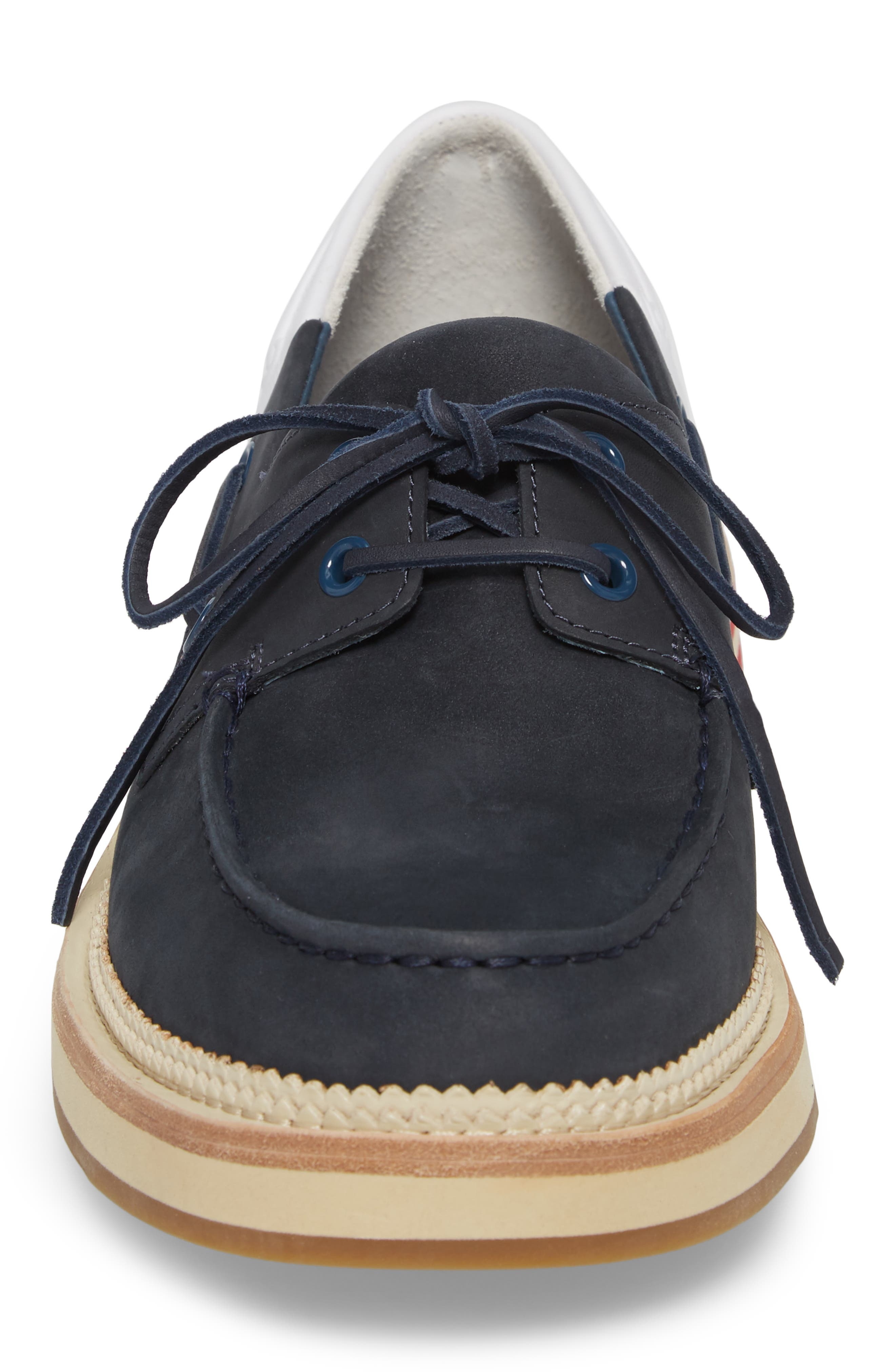 Cloud Colorblocked Boat Shoe,                             Alternate thumbnail 4, color,                             Navy/ White