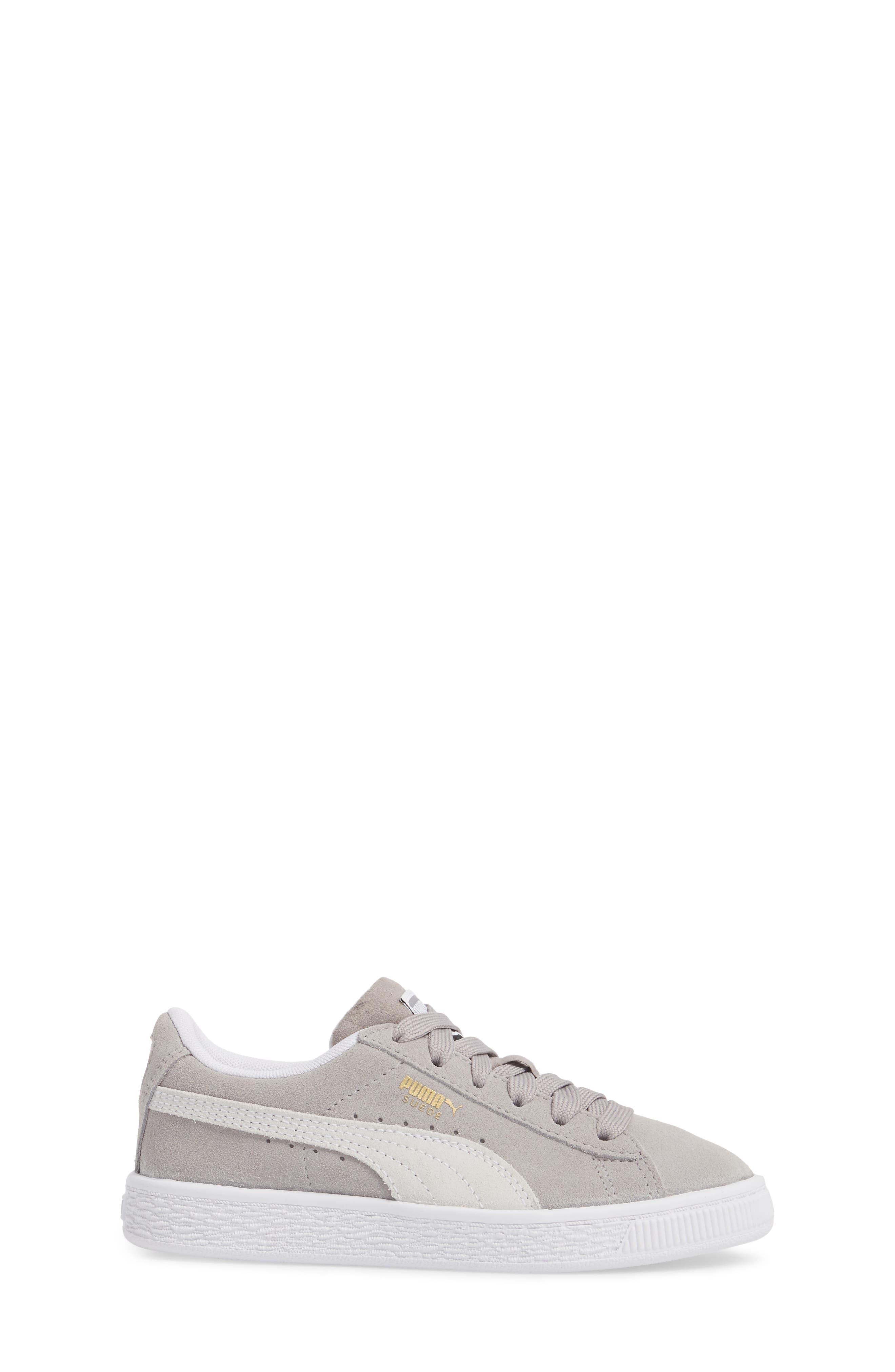 Suede Sneaker,                             Alternate thumbnail 3, color,                             Ash/ Puma White