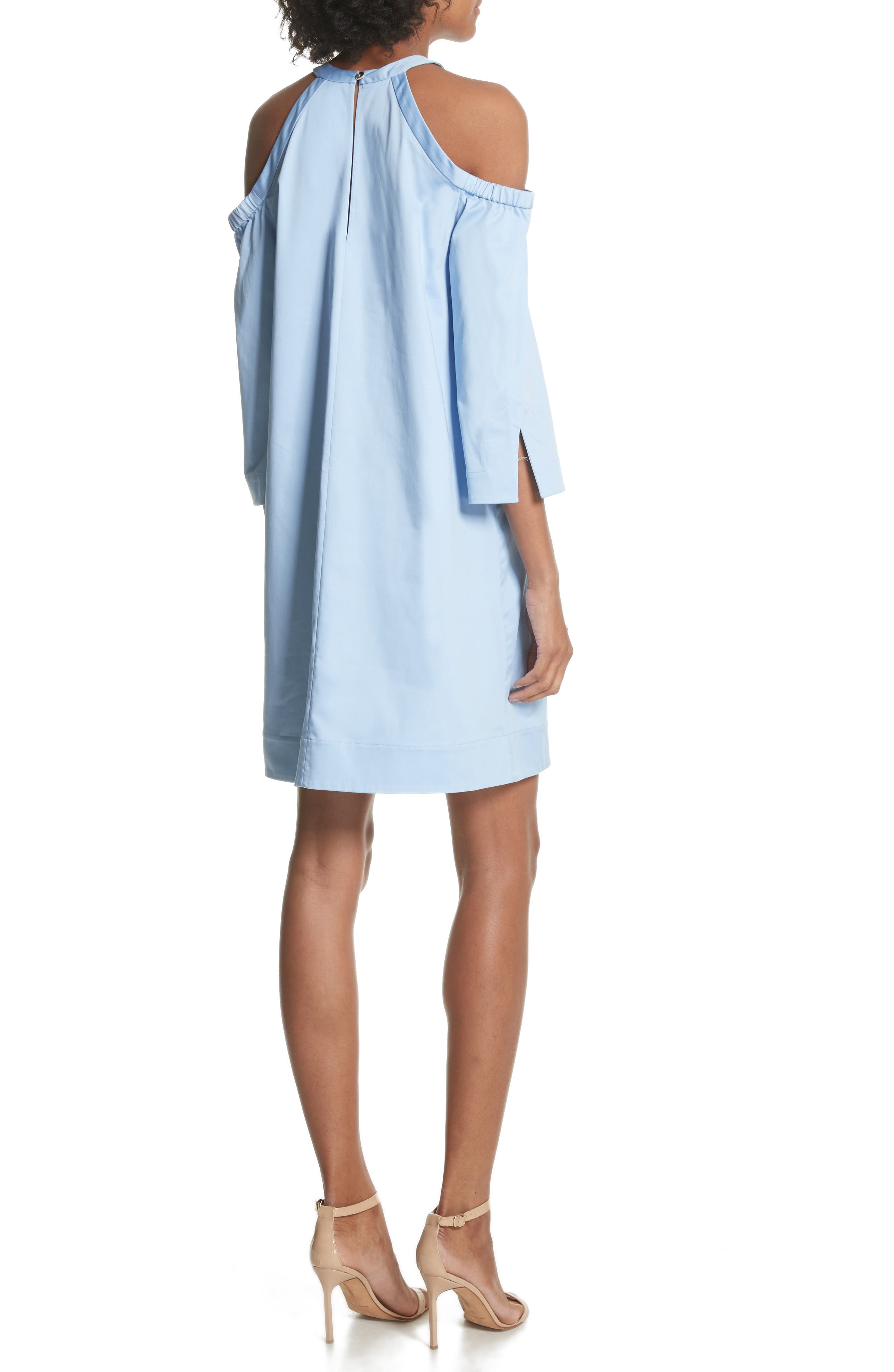Cold Shoulder Shift Dress,                             Alternate thumbnail 2, color,                             Baby Blue