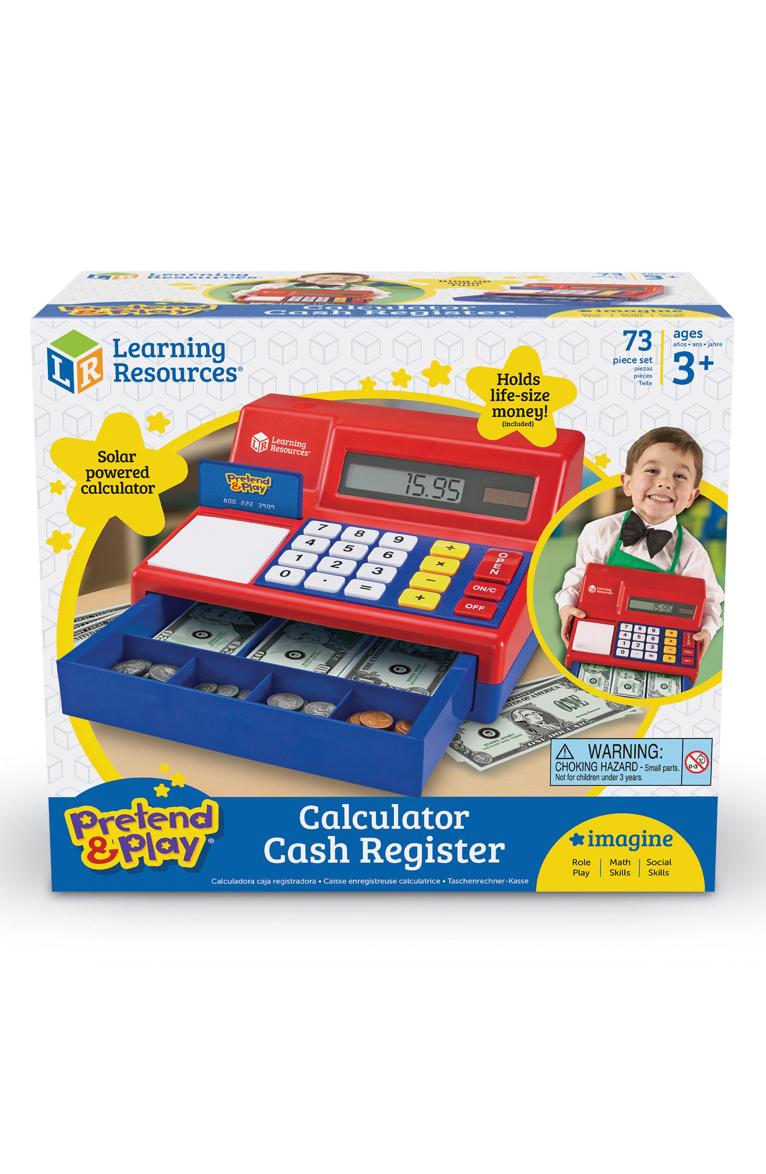 73-Piece Calculator Cash Register Toy,                             Main thumbnail 1, color,                             Red